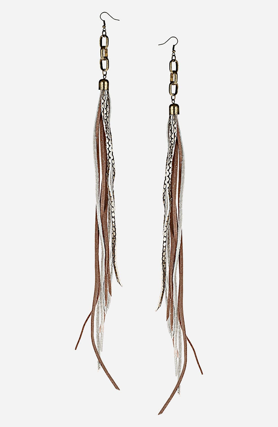 Alternate Image 1 Selected - Topshop Leather Strand Earrings