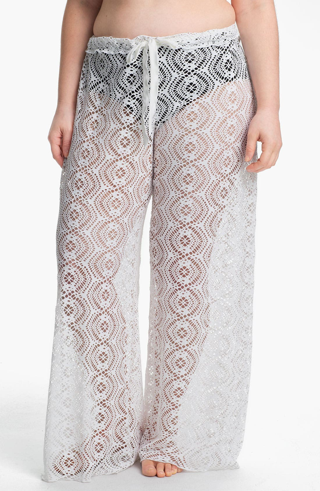 Main Image - Becca Etc. 'Marbella' Crochet Cover-Up Pants (Plus Size)