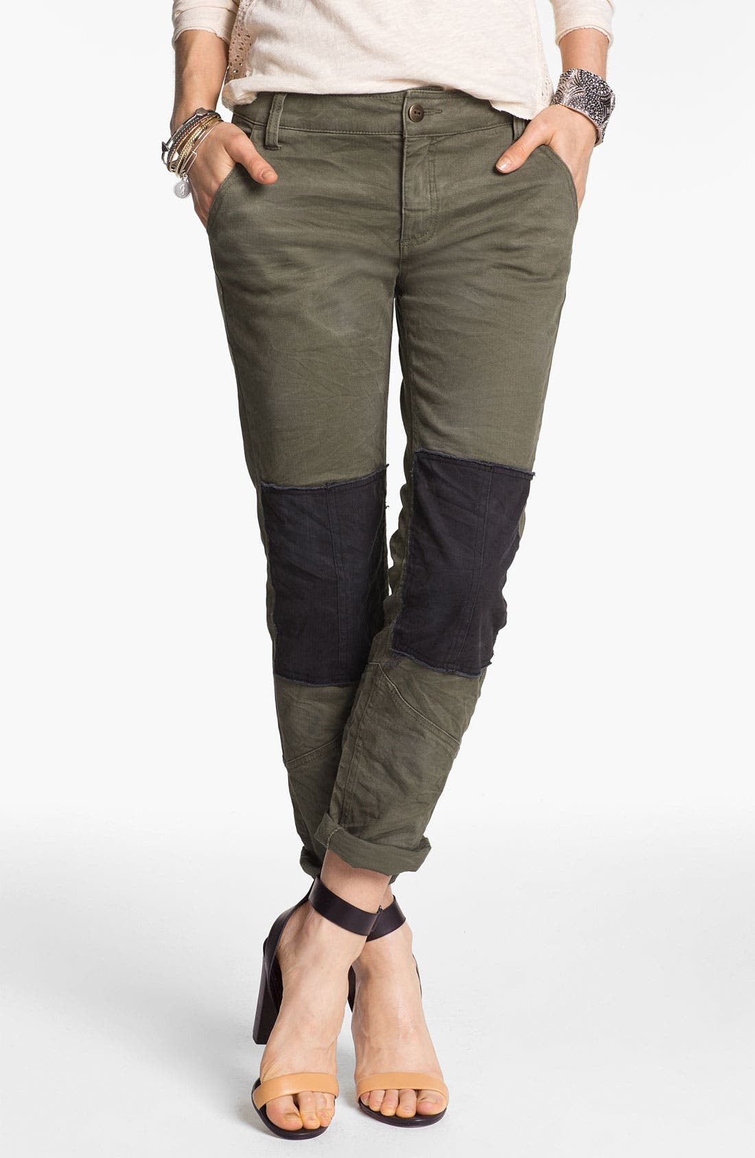 Alternate Image 1 Selected - Free People Knee Patch Skinny Chinos