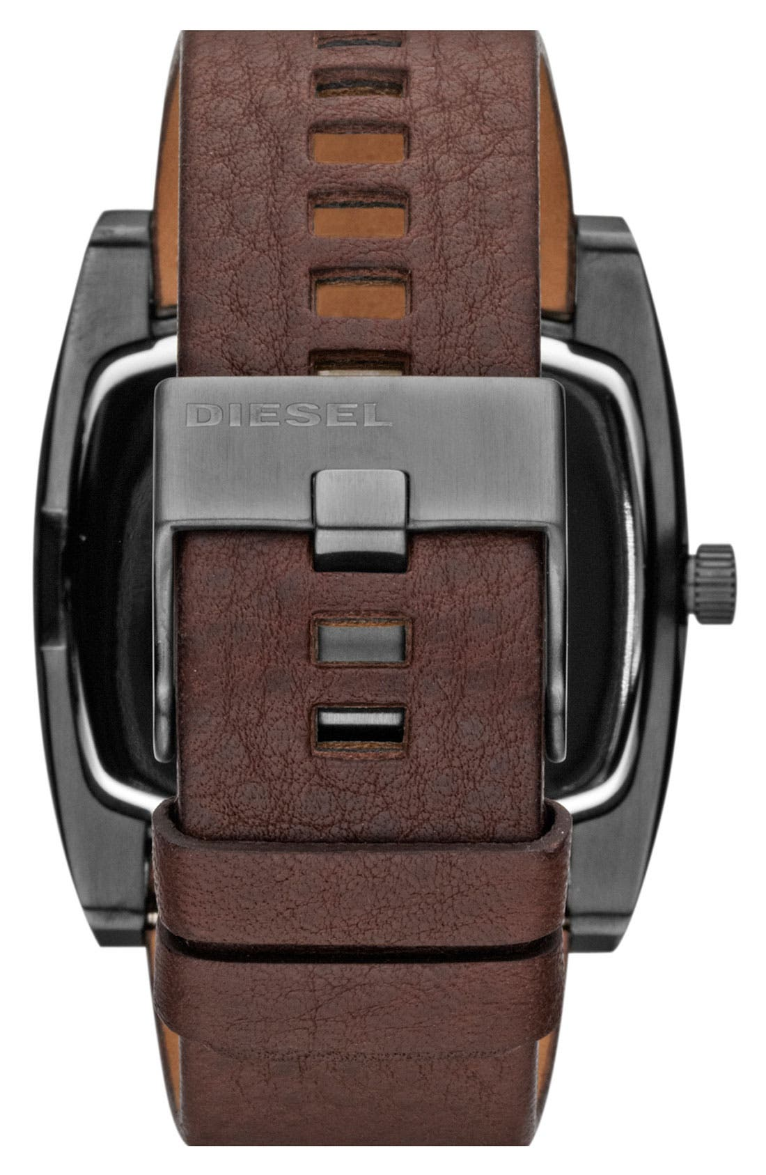 Alternate Image 3  - DIESEL® 'Mr. Red' Leather Strap Watch, 53mm x 47mm