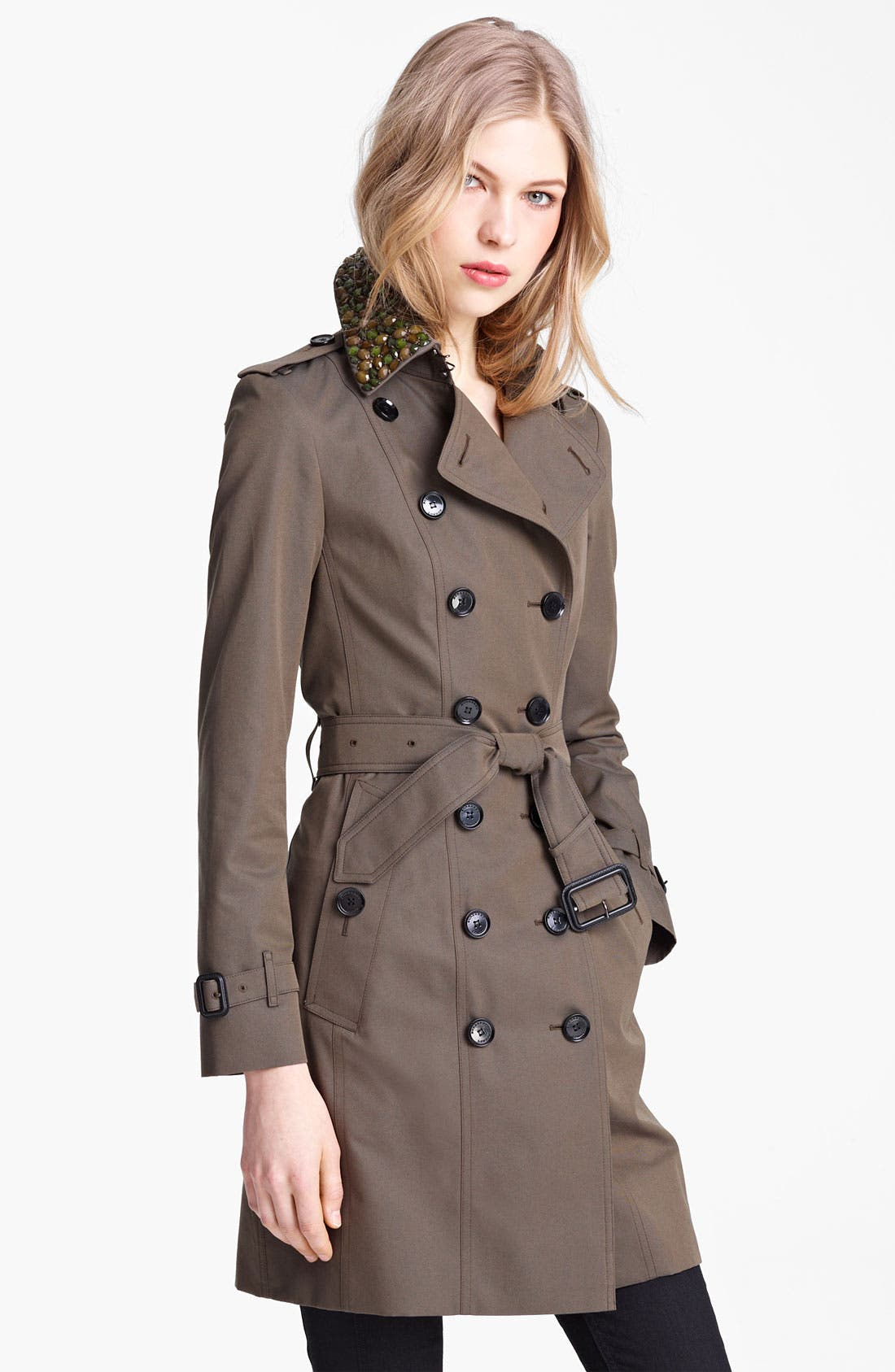 Main Image - Buberry London Double Breasted Trench with Removable Jewel Collar