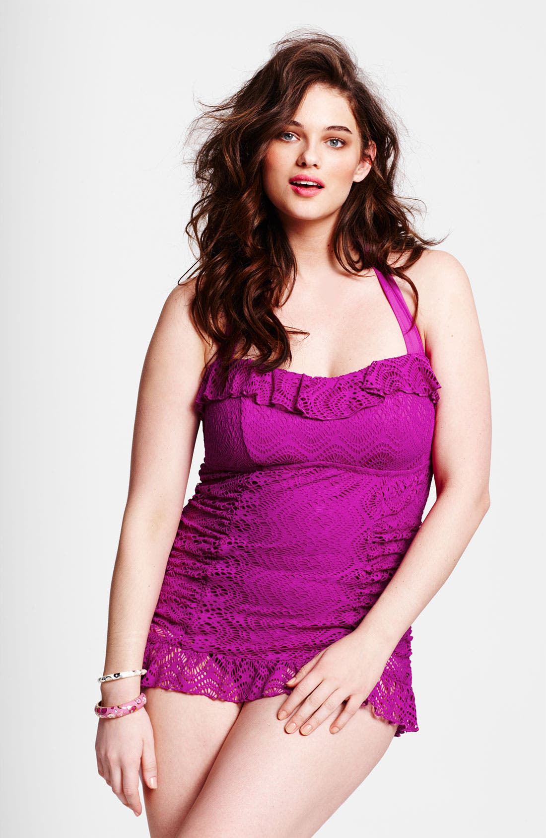 Alternate Image 4  - Becca Etc. 'Marbella' Crochet Swimdress (Plus Size)