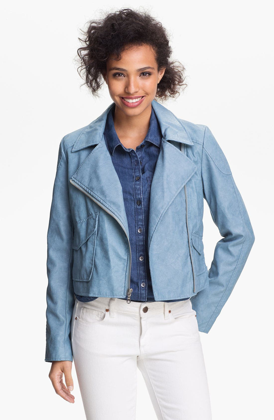 Alternate Image 1 Selected - DKNY Faux Leather Moto Jacket (Online Only)