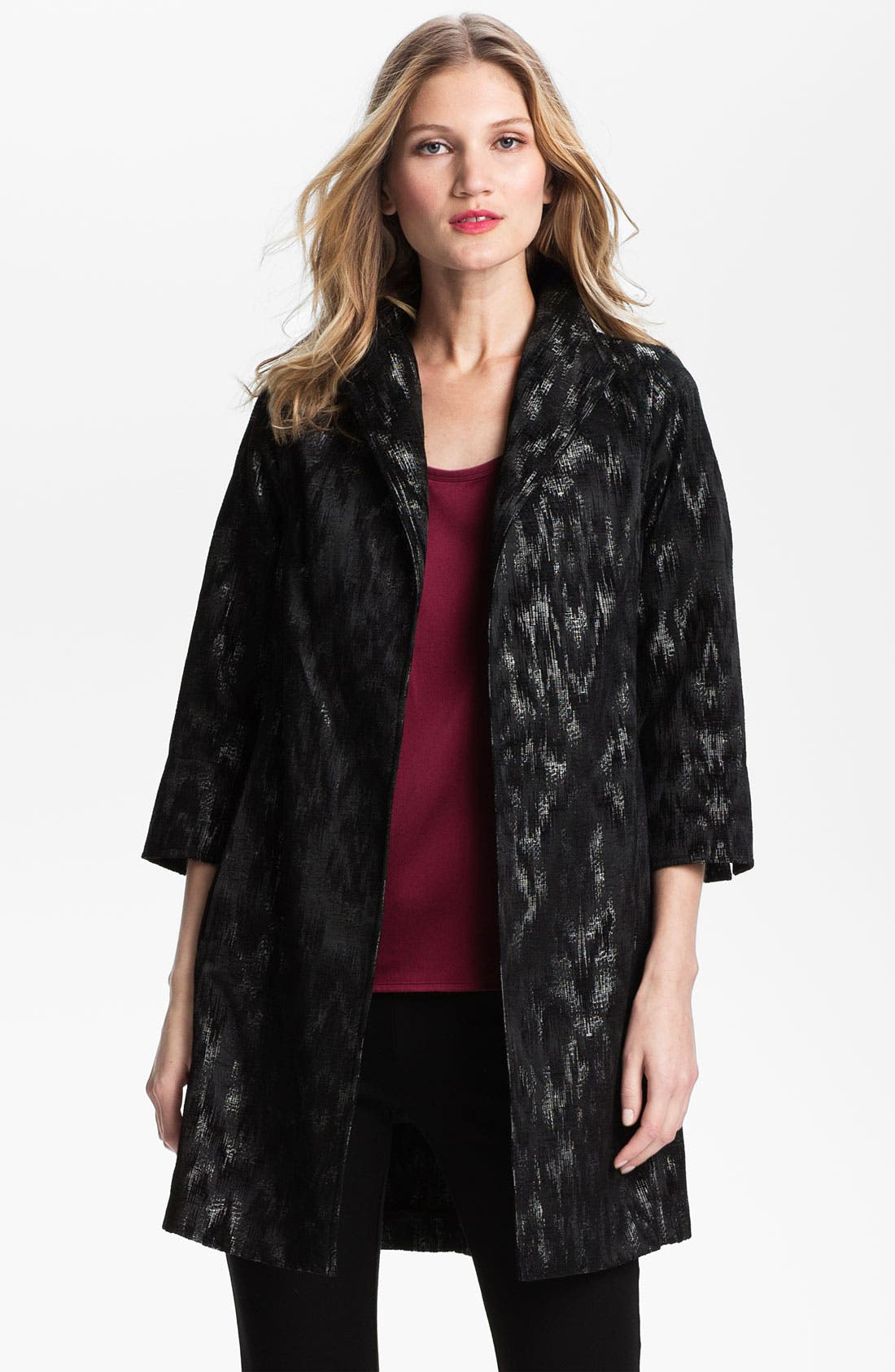 Alternate Image 1 Selected - Eileen Fisher Ikat Jacquard Coat (Petite)