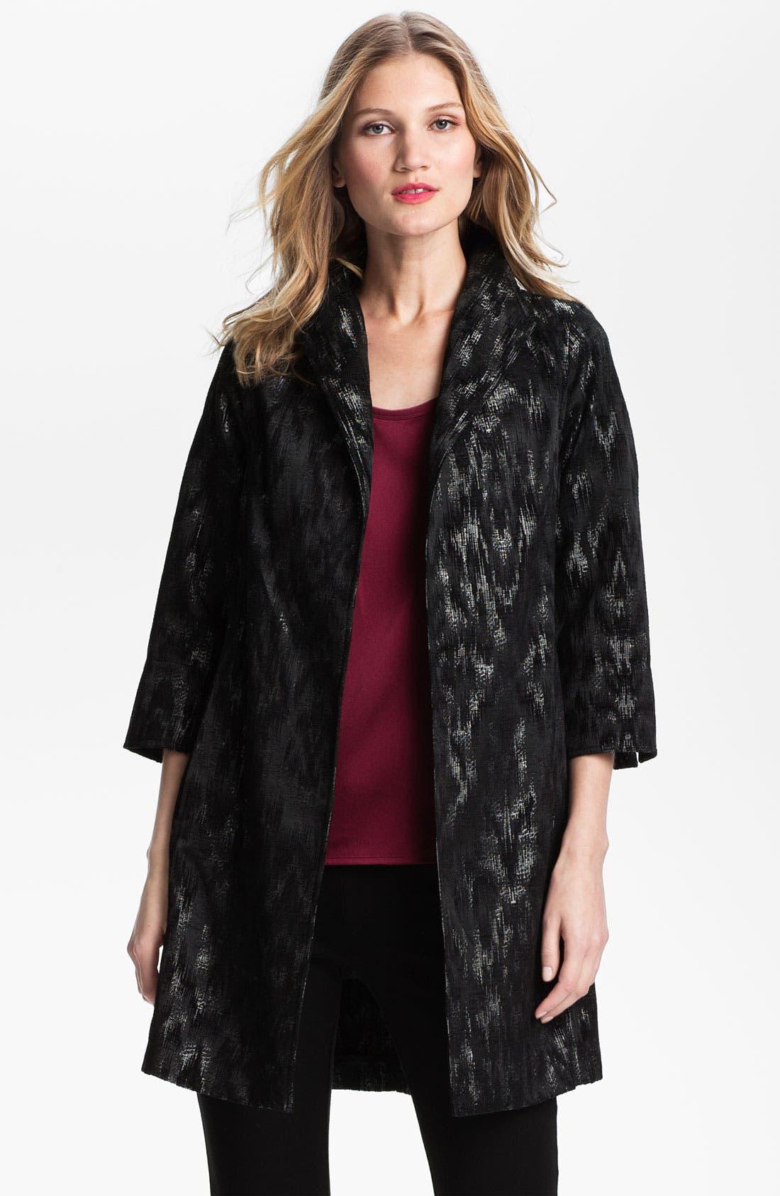 Main Image - Eileen Fisher Ikat Jacquard Coat (Petite)