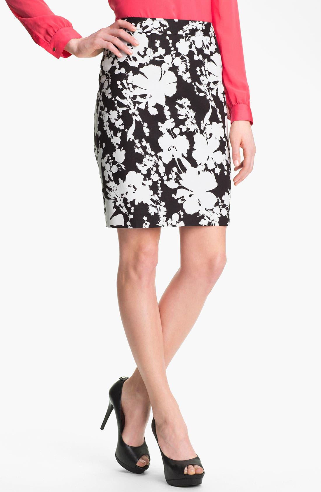 Main Image - Halogen® Print Stretch Cotton Blend Skirt (Petite)