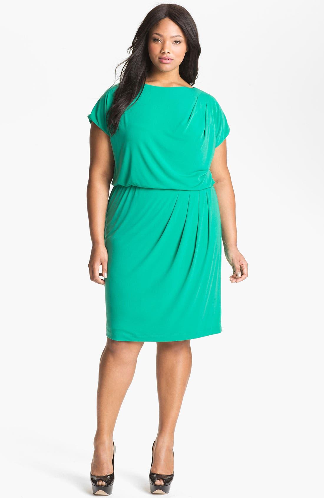 Alternate Image 1 Selected - Vince Camuto Pleated Blouson Dress (Plus Size)