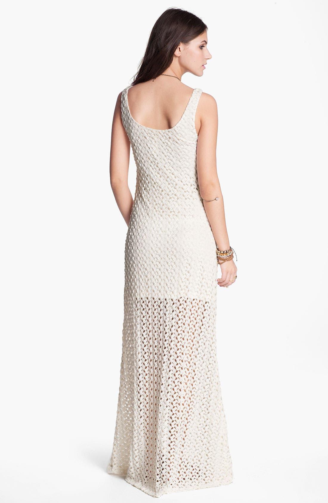 Alternate Image 2  - Mimi Chica Half Sheer Crochet Maxi Dress (Juniors)