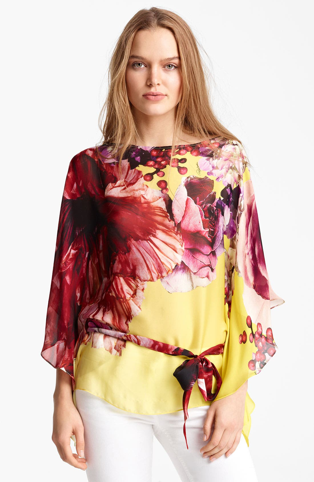 Alternate Image 1 Selected - Roberto Cavalli 'Vervienne Print' Belted Chiffon Caftan