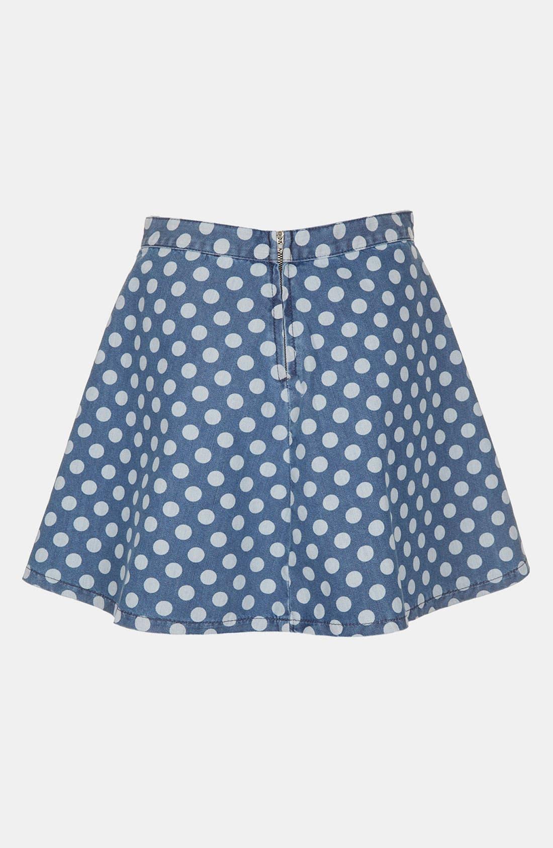 Alternate Image 2  - Topshop Moto Polka Dot Denim Skater Skirt