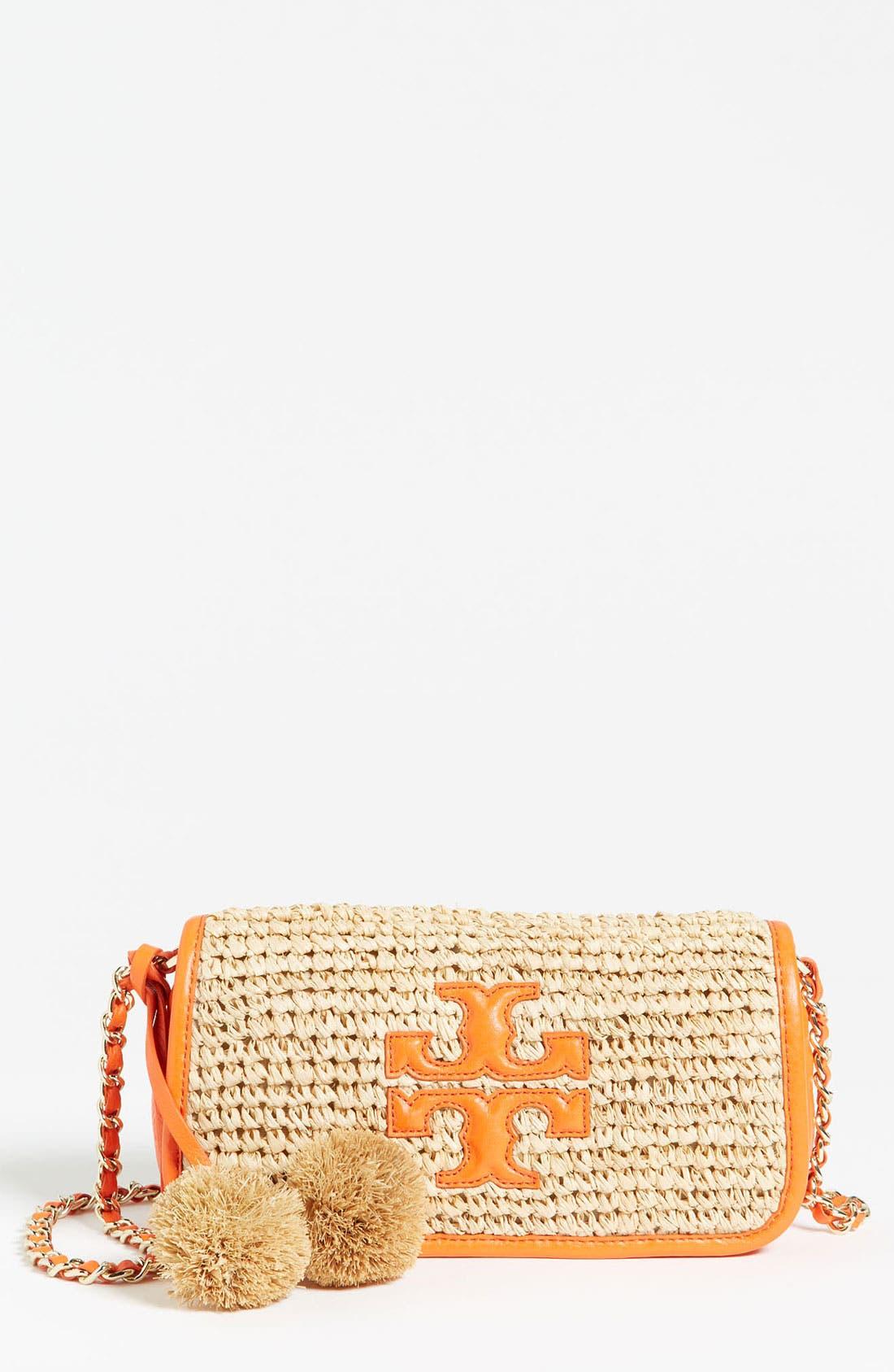 Main Image - Tory Burch 'Thea - Mini' Straw Crossbody Bag, Small