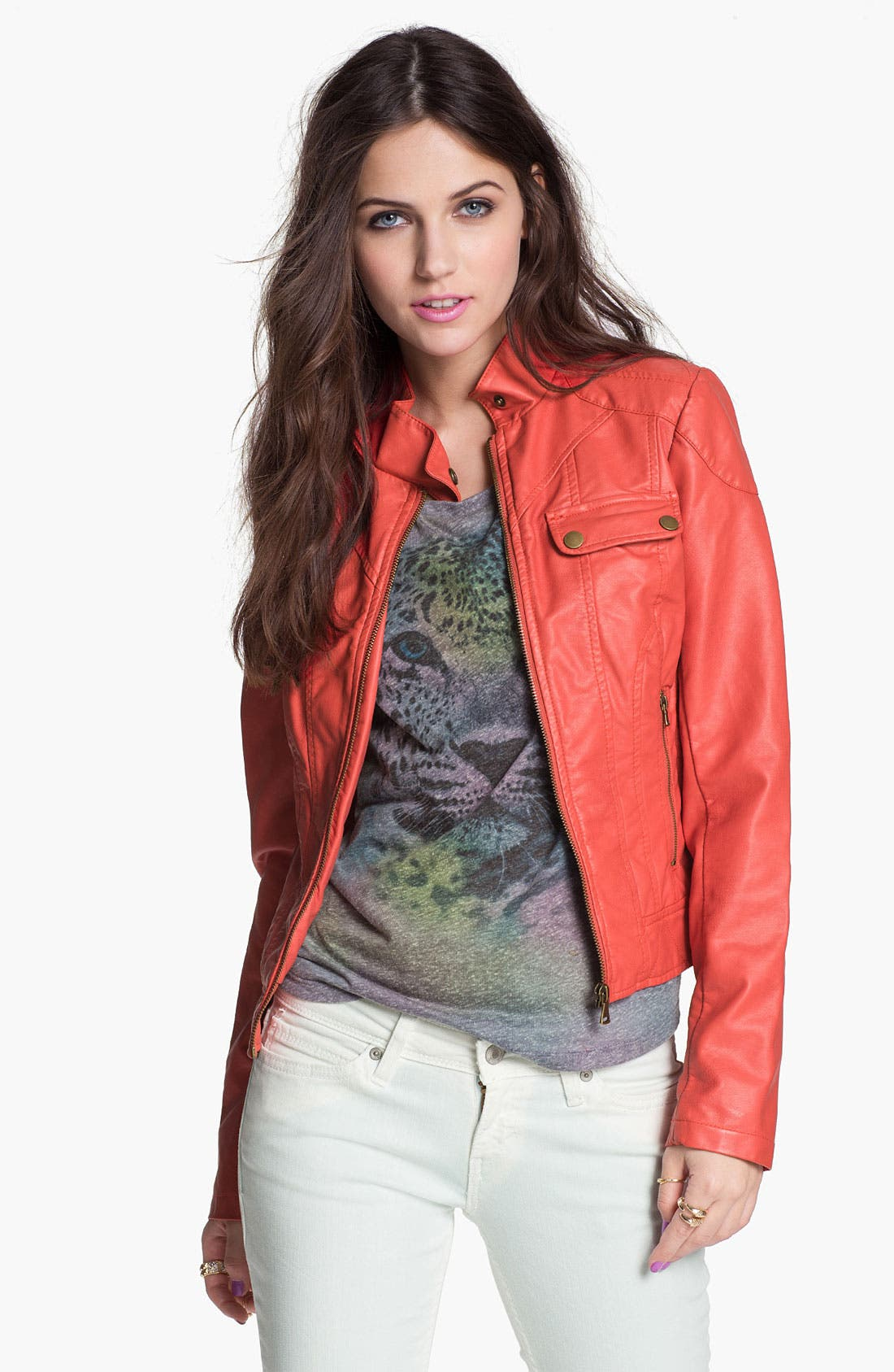 Alternate Image 1 Selected - Collection B Retro Faux Leather Moto Jacket (Juniors)