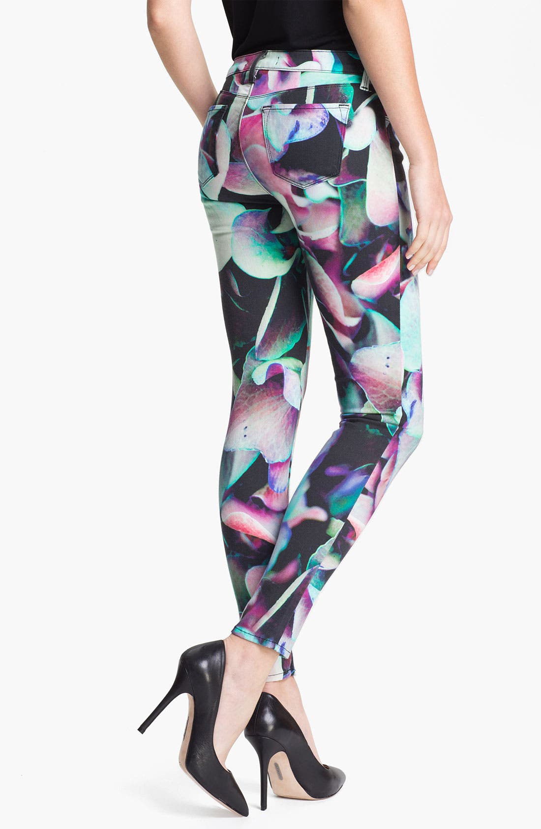 Alternate Image 2  - J Brand Print Super Skinny Jeans (Hydrangea)