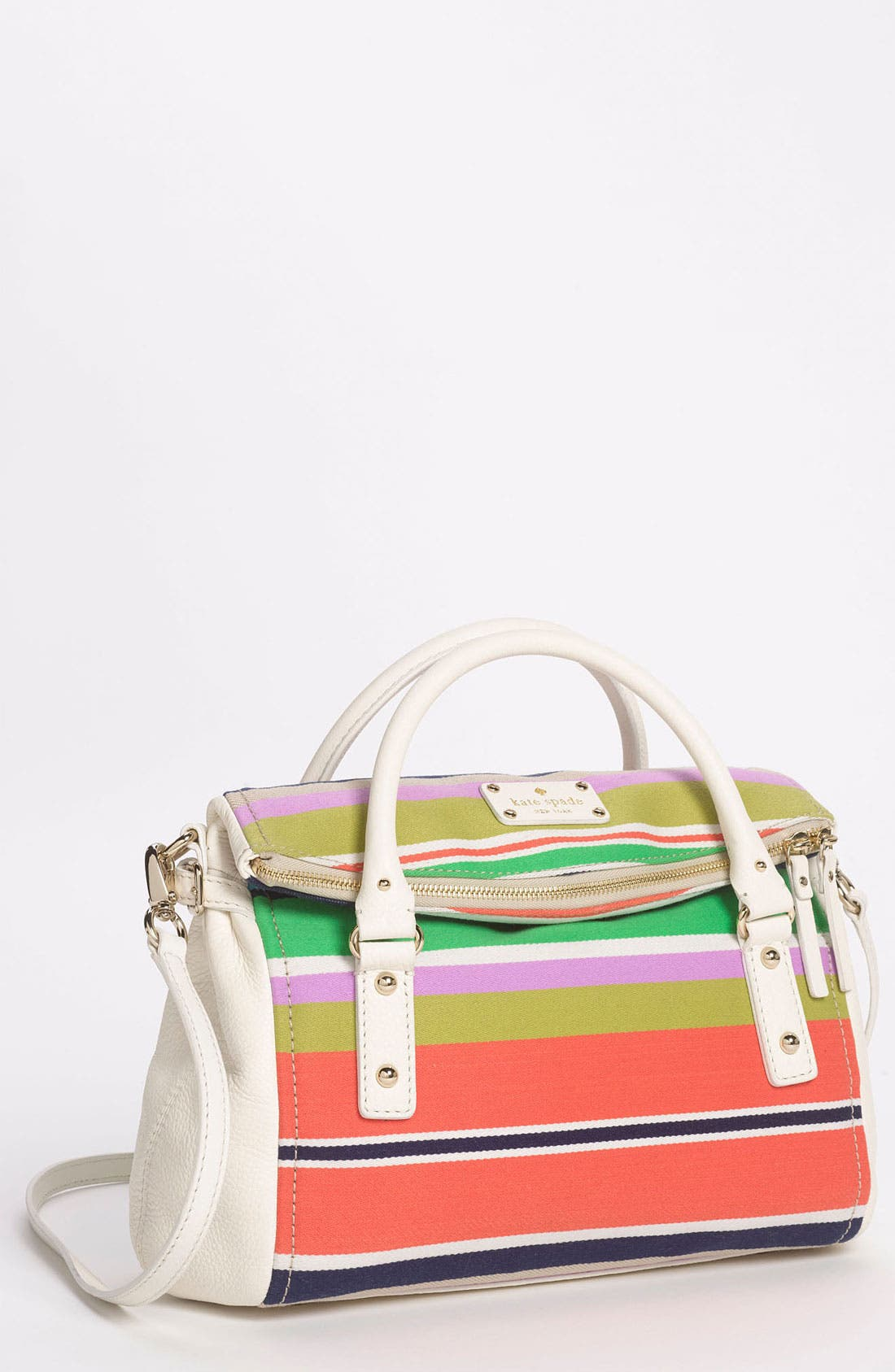 Main Image - kate spade new york 'cobble hill stripe - small leslie' satchel