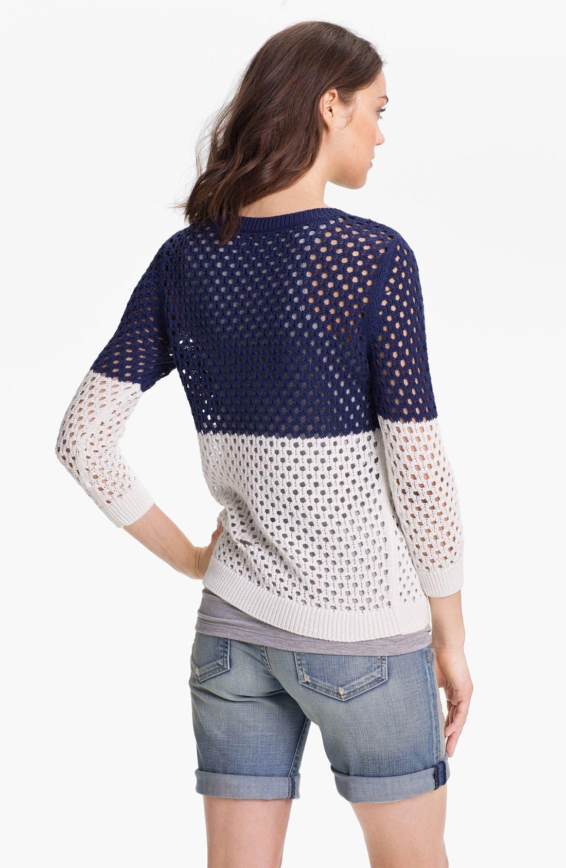 Alternate Image 2  - Caslon® Colorblock Open Stitch Sweater