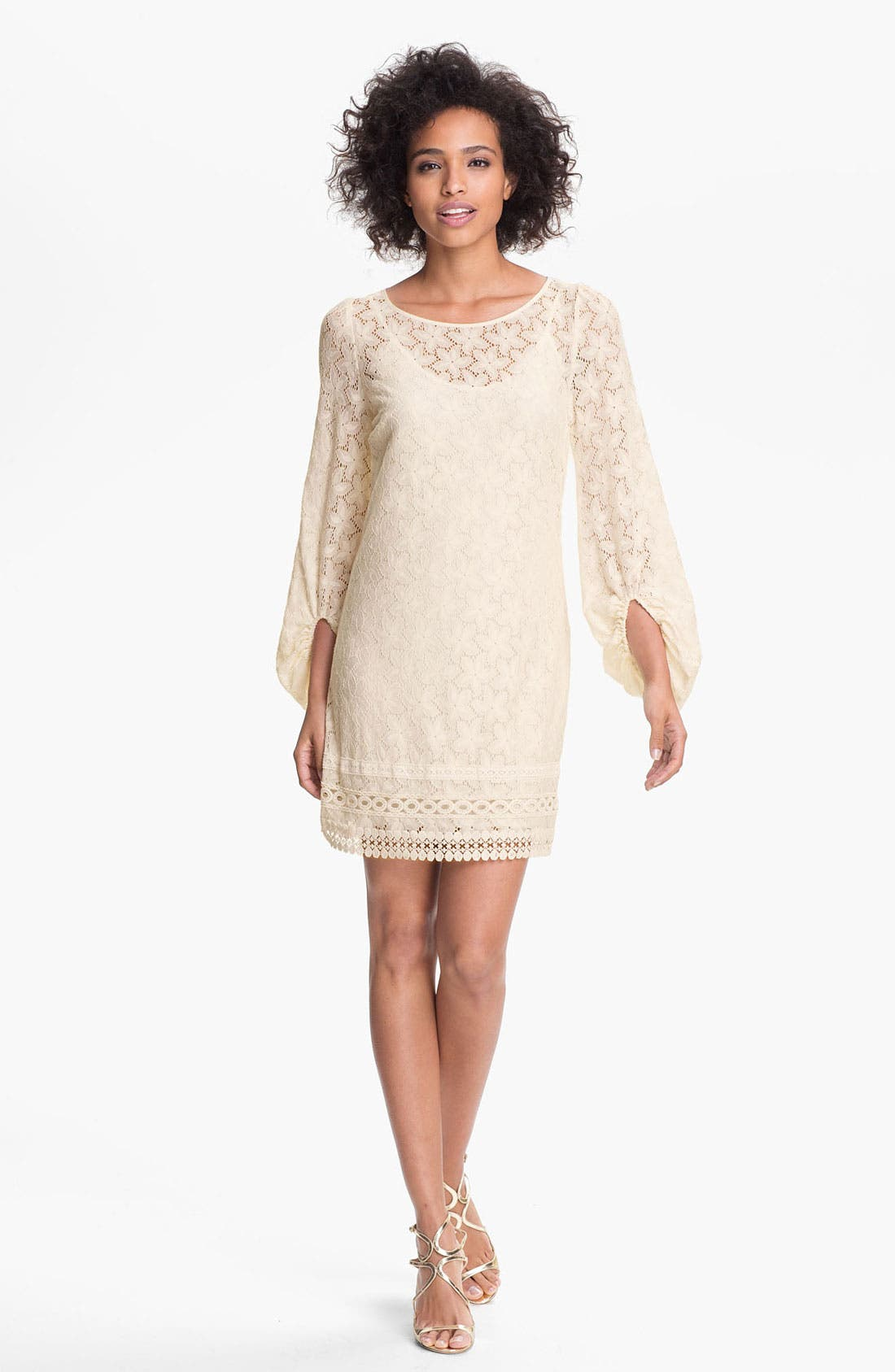 Main Image - Laundry by Shelli Segal 'Sand Dollar' Lace Shift Dress (Petite)