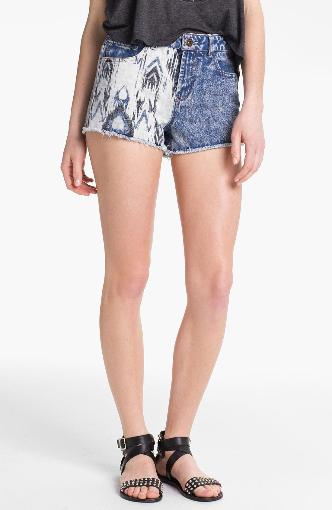 Main Image - Fire Split Print High Waist Denim Shorts (Juniors)