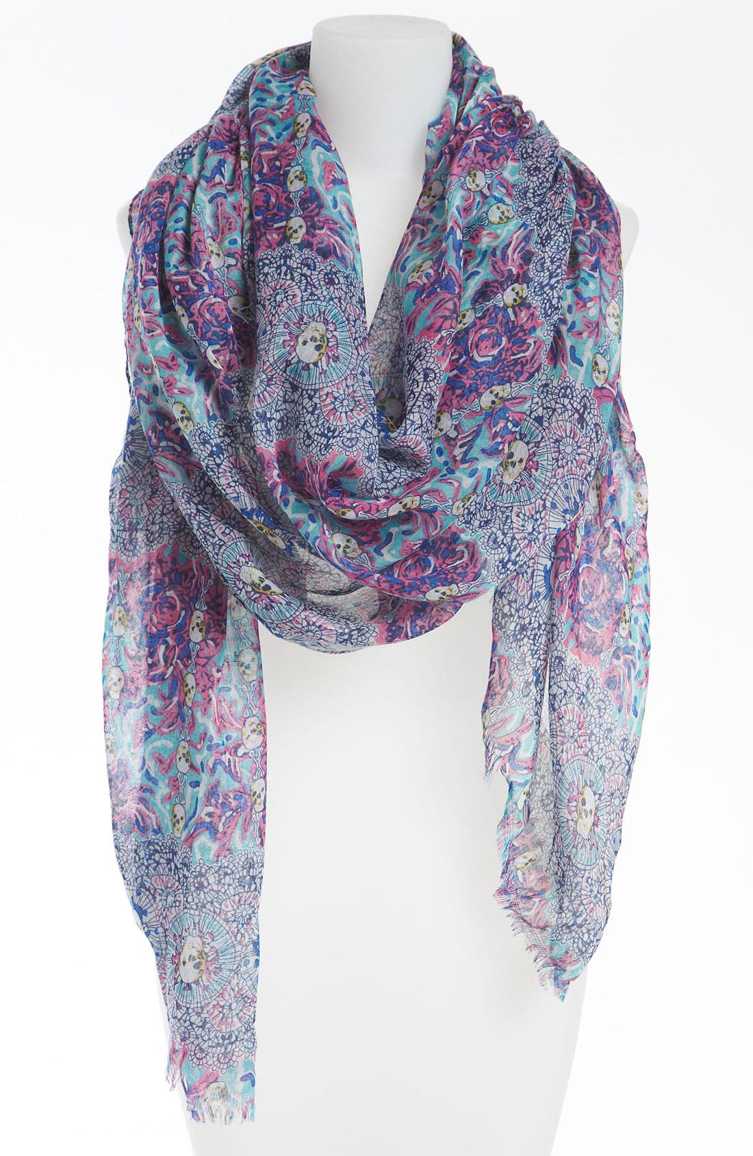 Main Image - BP. Skull Print Sheer Scarf