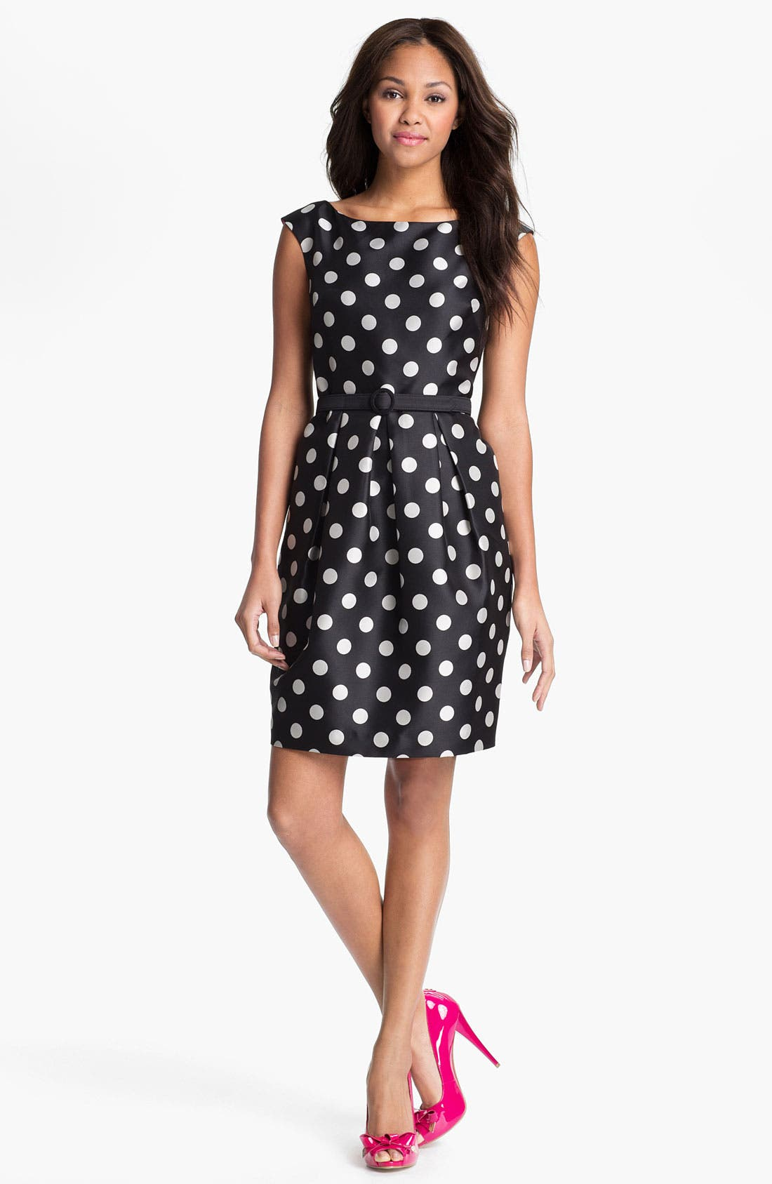 Alternate Image 1 Selected - Eliza J Polka Dot Tulip Dress (Regular & Petite)