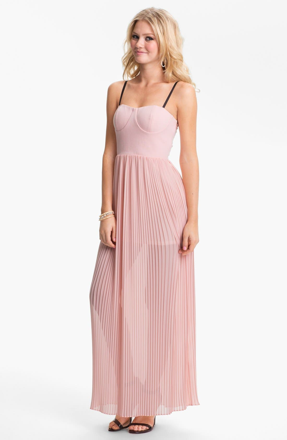Alternate Image 1 Selected - BLAQUE LABEL Pleated Chiffon Maxi Dress