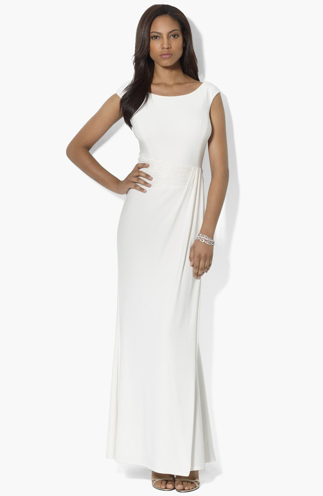 Main Image - Lauren Ralph Lauren Embellished Draped Matte Jersey Gown