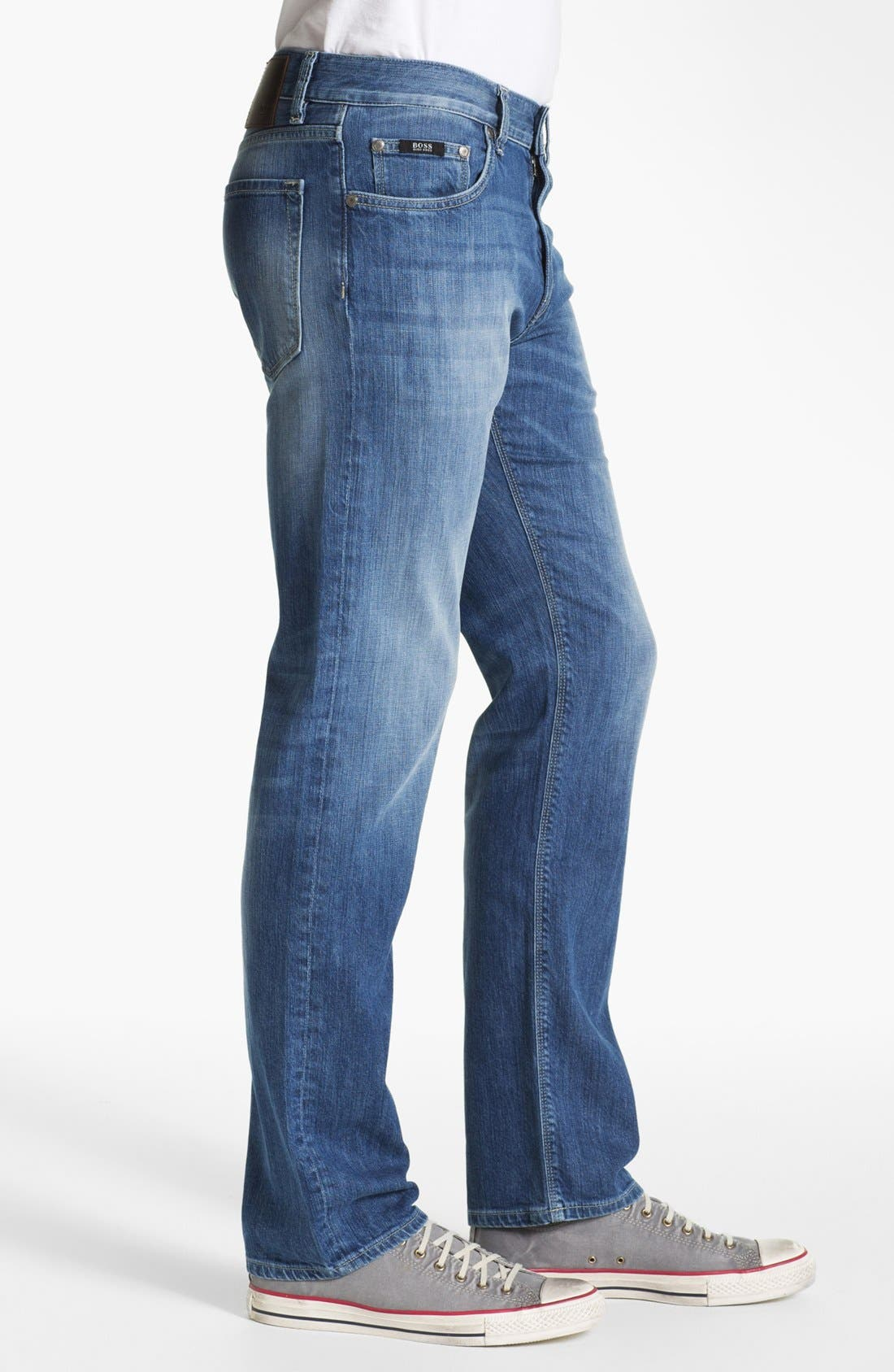 Alternate Image 3  - BOSS HUGO BOSS 'Maine' Straight Leg Regular Fit Jeans (Dark Used)