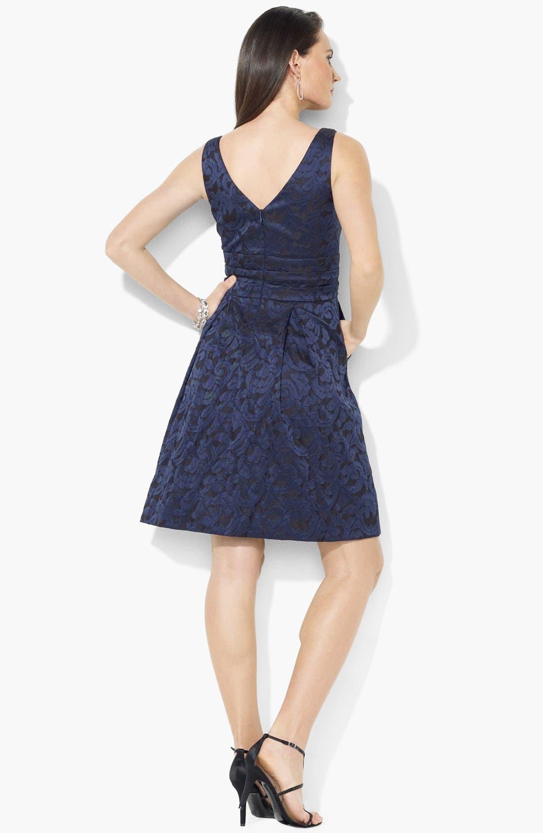 Alternate Image 2  - Lauren Ralph Lauren Brocade Fit & Flare Dress