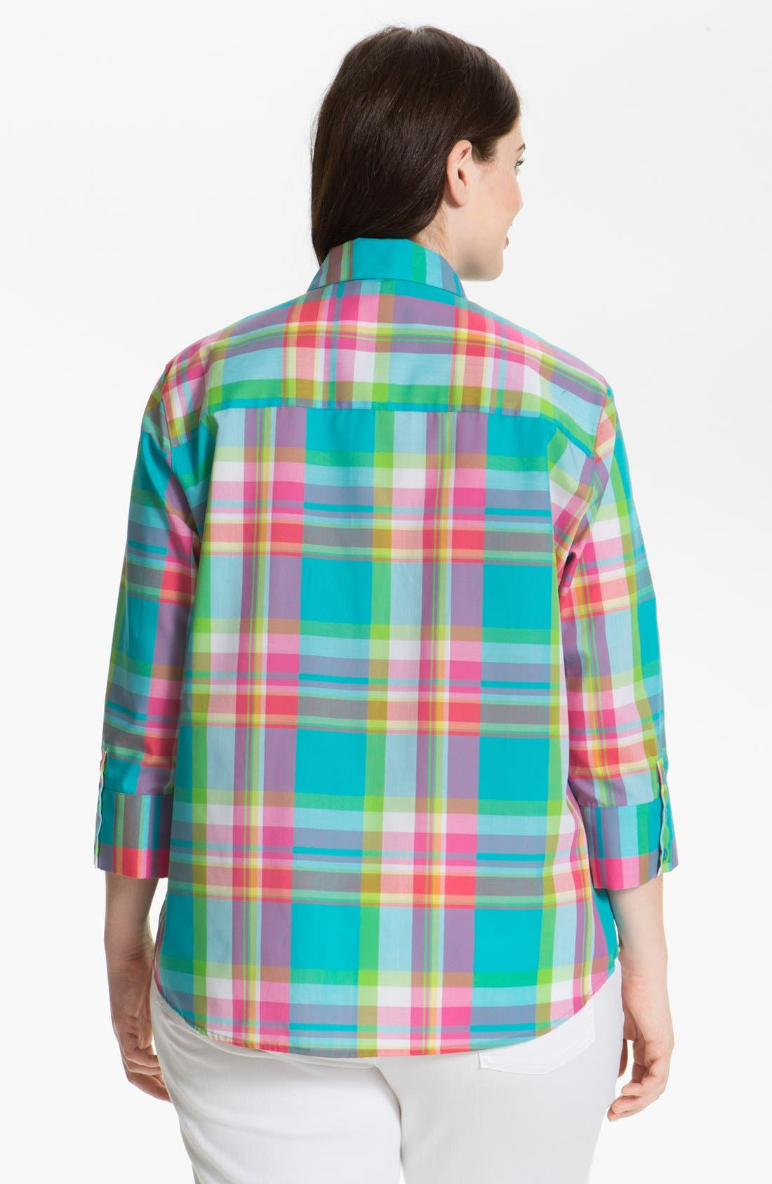 Alternate Image 2  - Foxcroft Plaid Shaped Shirt (Plus Size)