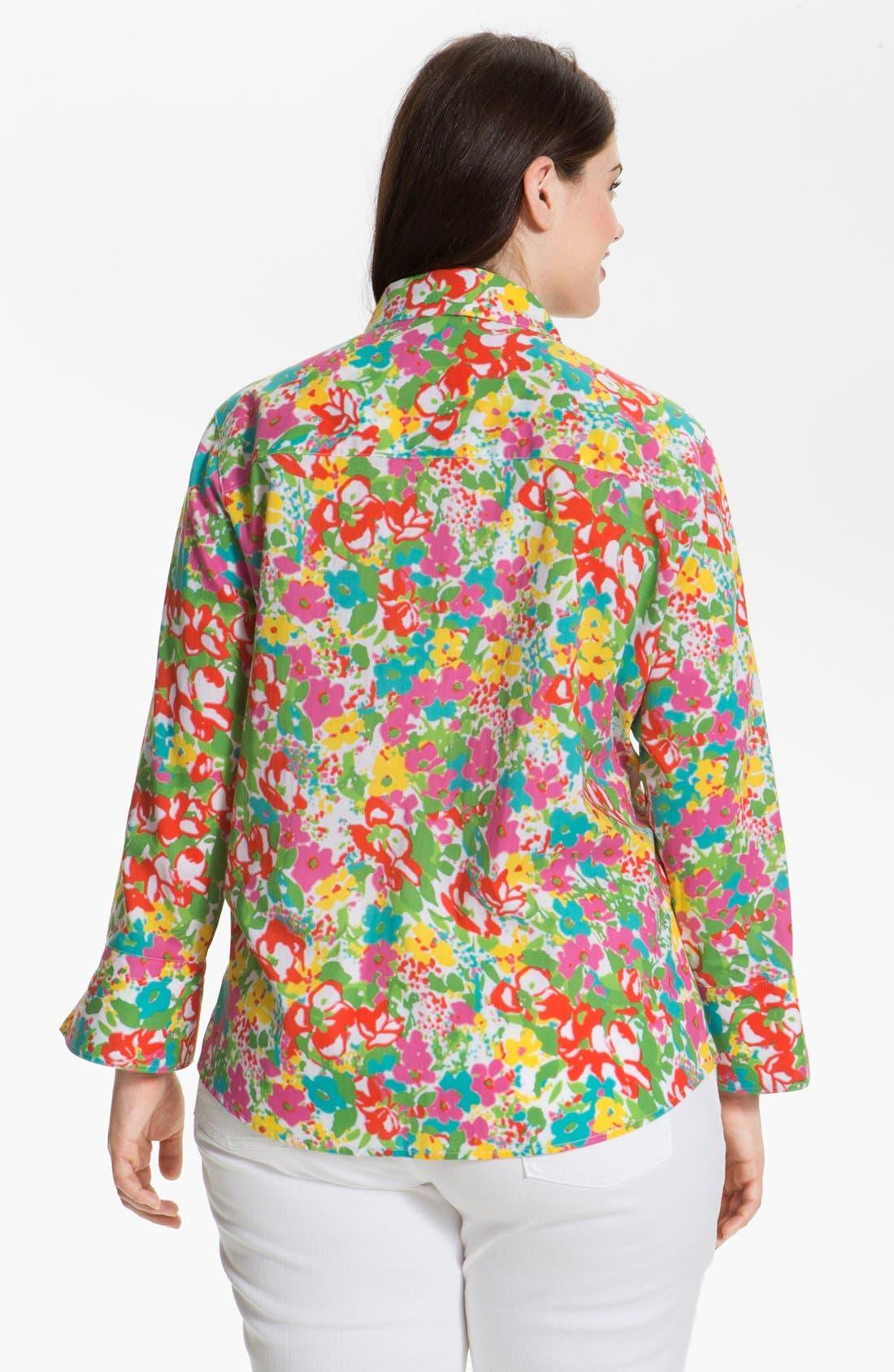Alternate Image 2  - Foxcroft Print Shaped Cotton Shirt (Plus Size)