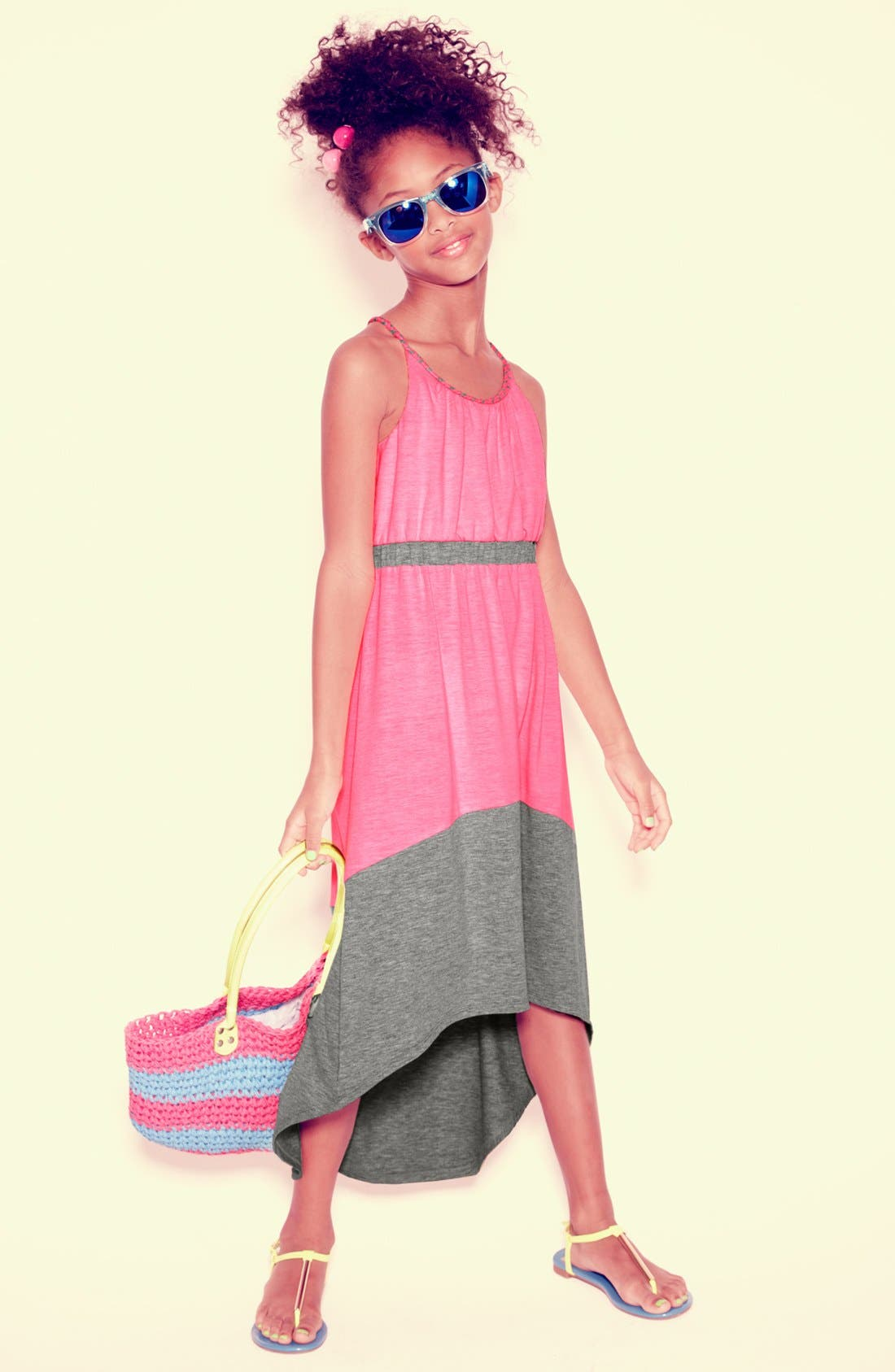 Alternate Image 1 Selected - Paper Doll Maxi Dress, Icon Eyewear Sunglasses & Capelli of New York Tote (Little Girls & Big Girls)