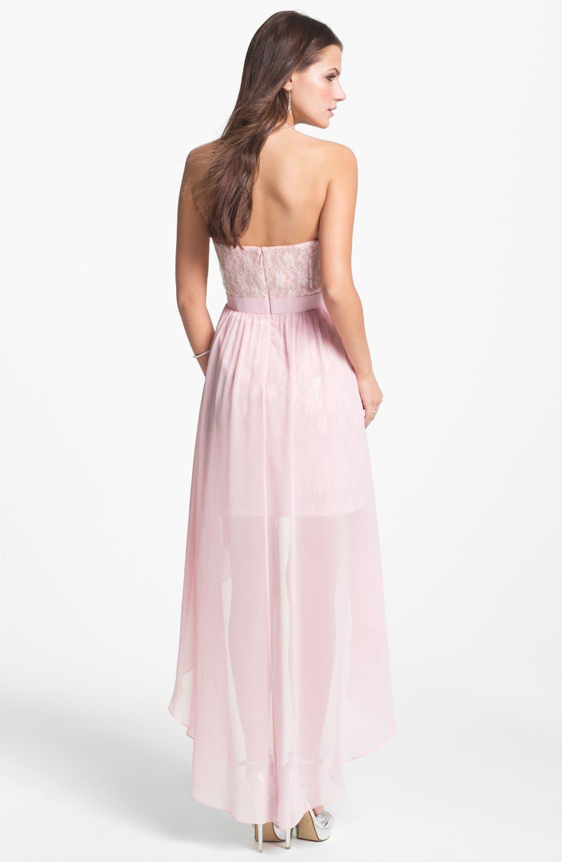 Alternate Image 2  - Aidan Mattox Embellished Lace & Chiffon High/Low Dress