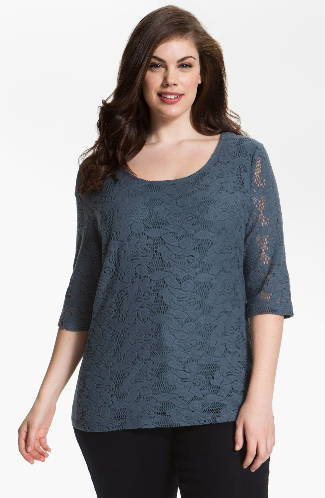 Main Image - Kische Lace Front Top (Plus Size) (Online Only)