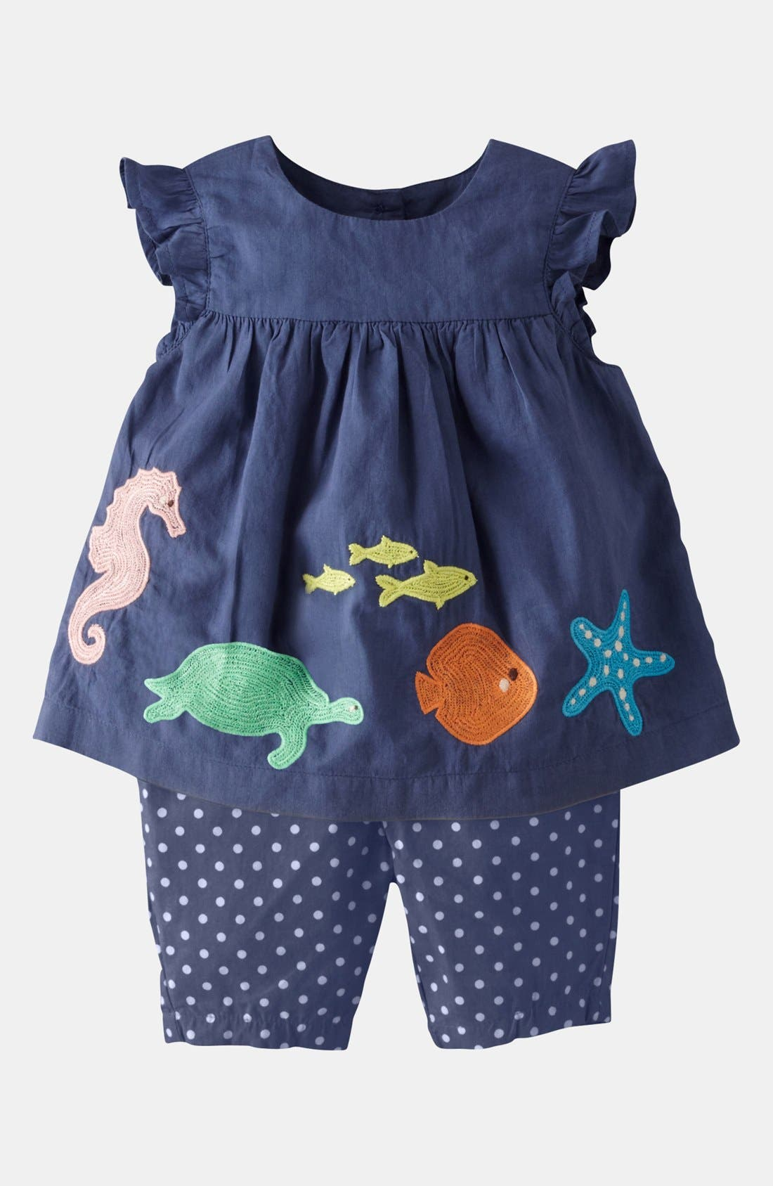 Alternate Image 1 Selected - Mini Boden 'Summer' Embroidered Top & Leggings (Baby)