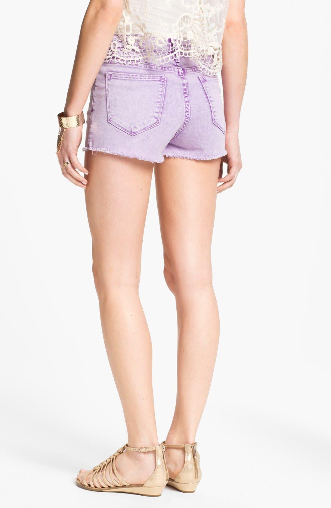 Alternate Image 2  - Vigoss High Waist Cutoff Denim Shorts (Juniors)