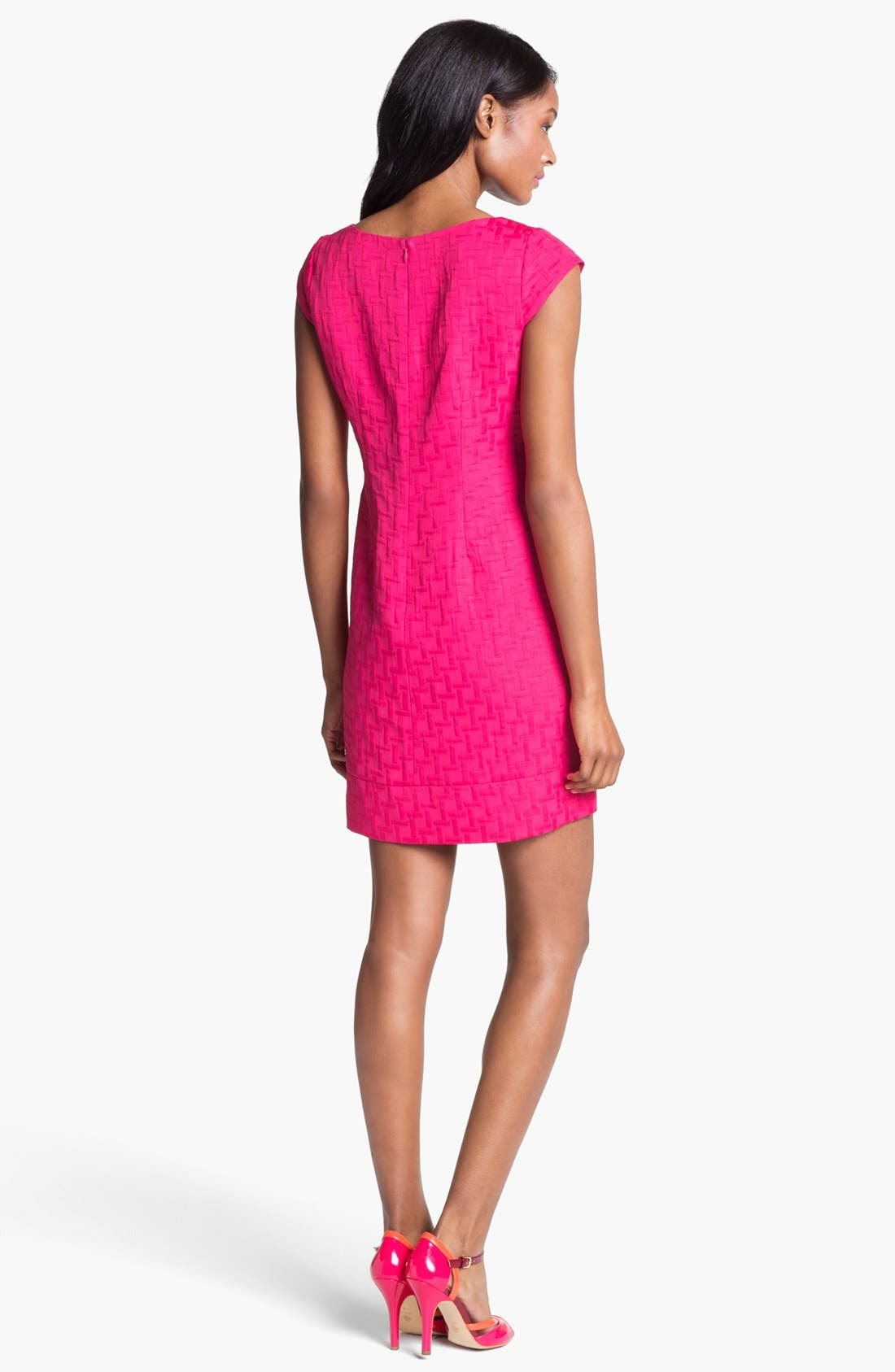 Alternate Image 2  - Eliza J Cap Sleeve Jacquard Shift Dress (Petite)