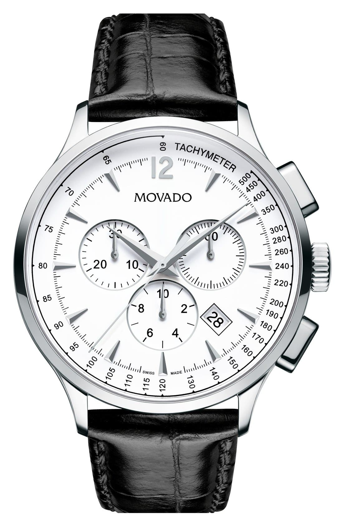 MOVADO 'Circa' Round Chronograph Watch, 42mm