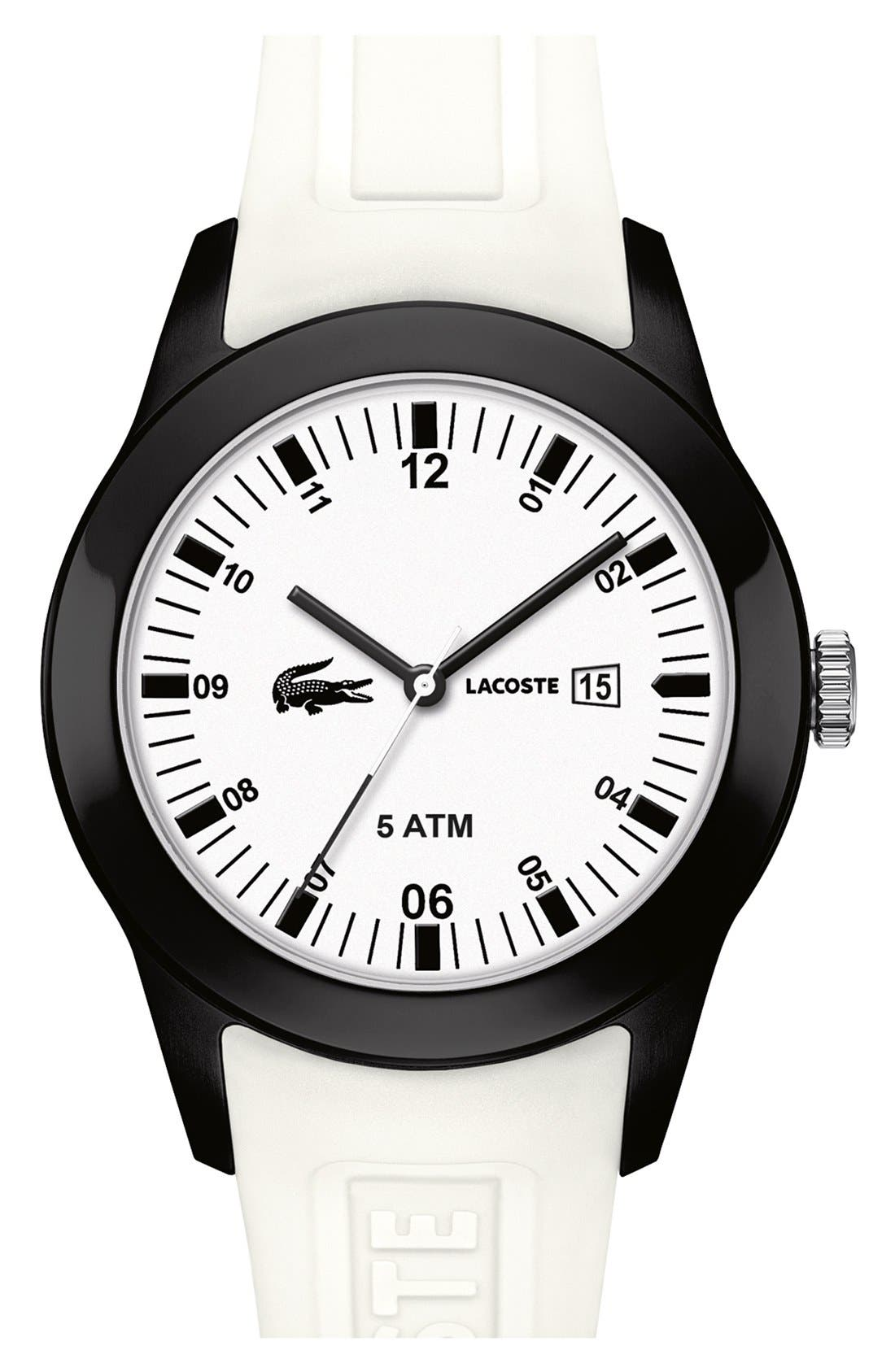 Alternate Image 1 Selected - Lacoste 'Advantage' Silicone Strap Watch, 42mm