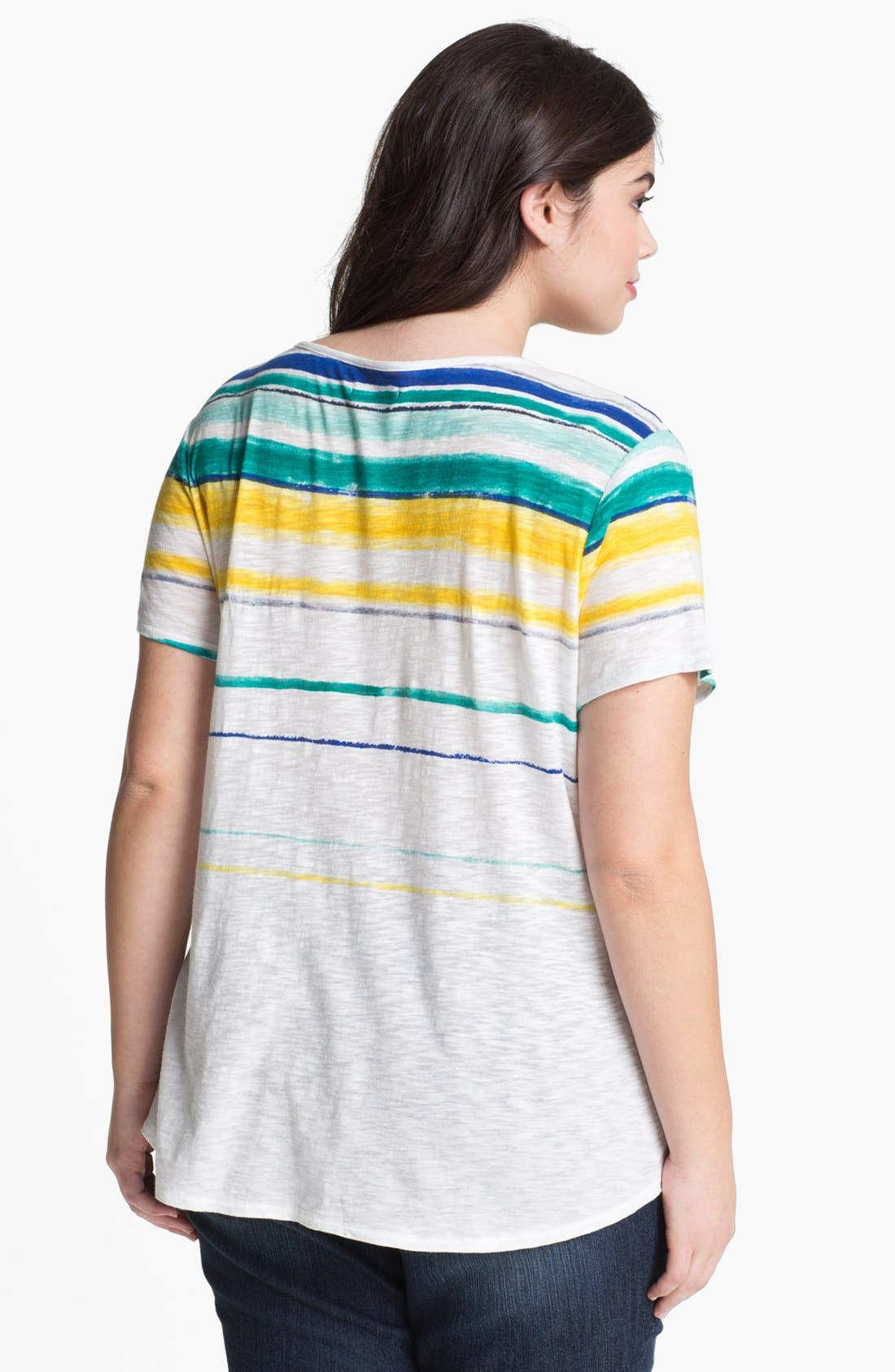 Alternate Image 2  - Lucky Brand 'Charleigh' Stripe Tee (Plus Size)
