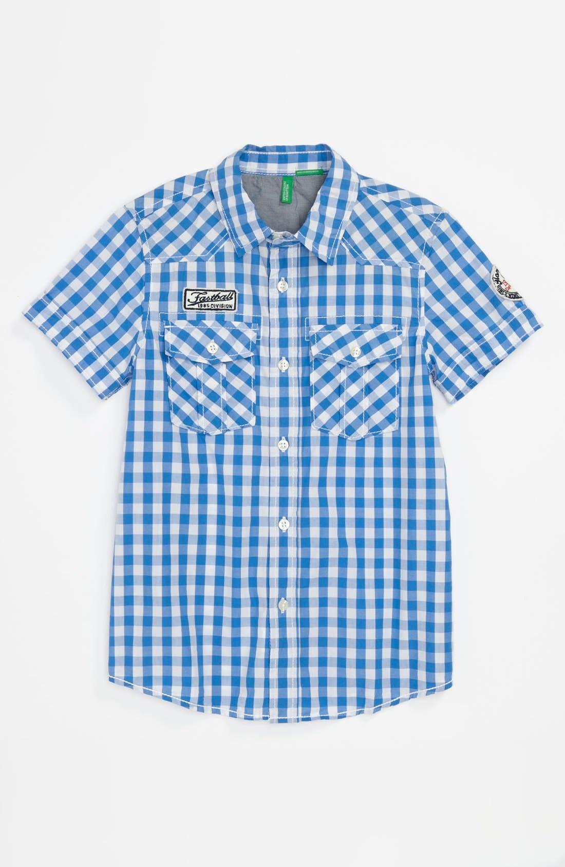 Alternate Image 1 Selected - United Colors of Benetton Kids Gingham Shirt (Big Boys)