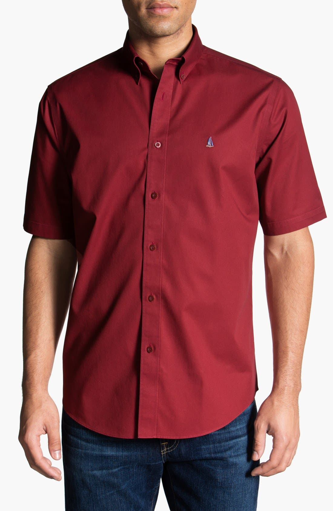 Main Image - Nordstrom Smartcare™ Traditional Fit Short Sleeve Twill Boat Shirt