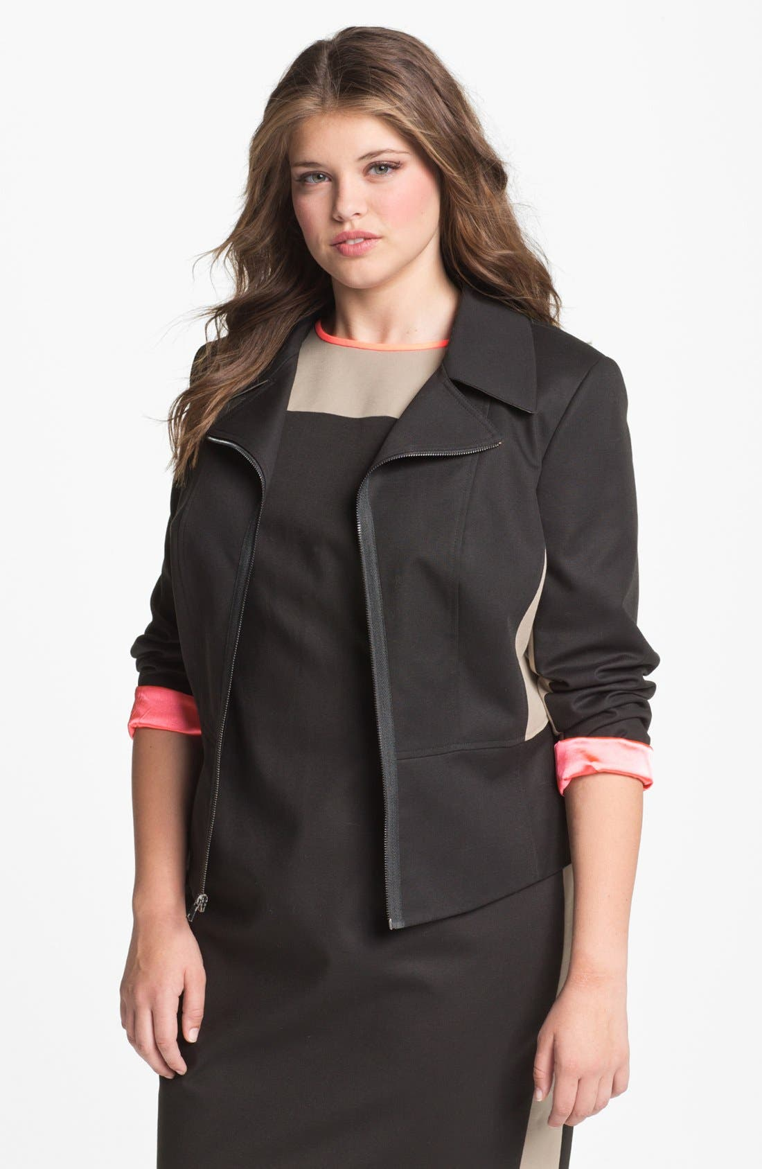 Alternate Image 1 Selected - Tahari Woman 'Althea' Colorblock Peplum Jacket (Plus)