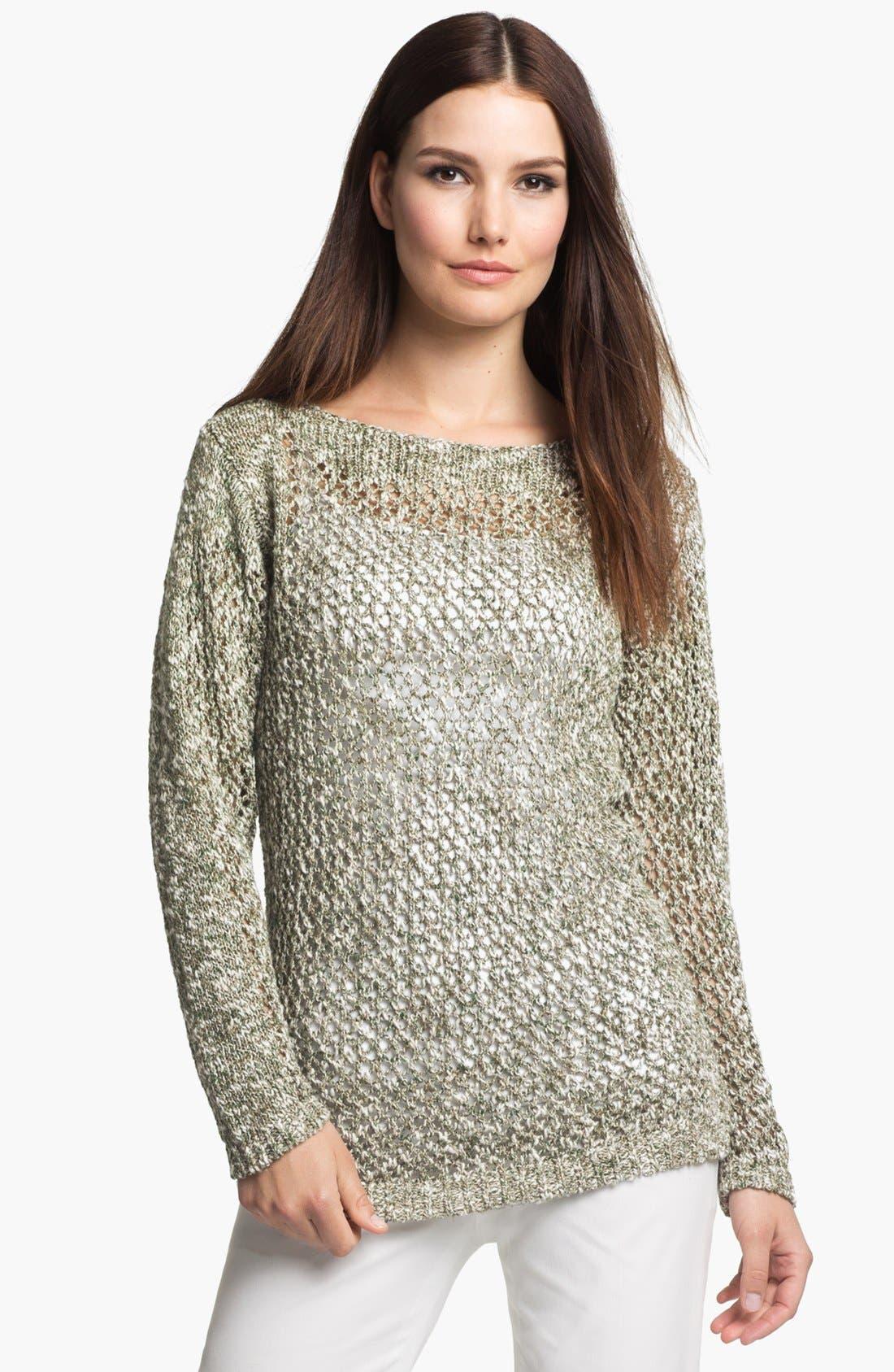 Main Image - Lafayette 148 New York 'Chromatic Mélange' Net Stitch Sweater