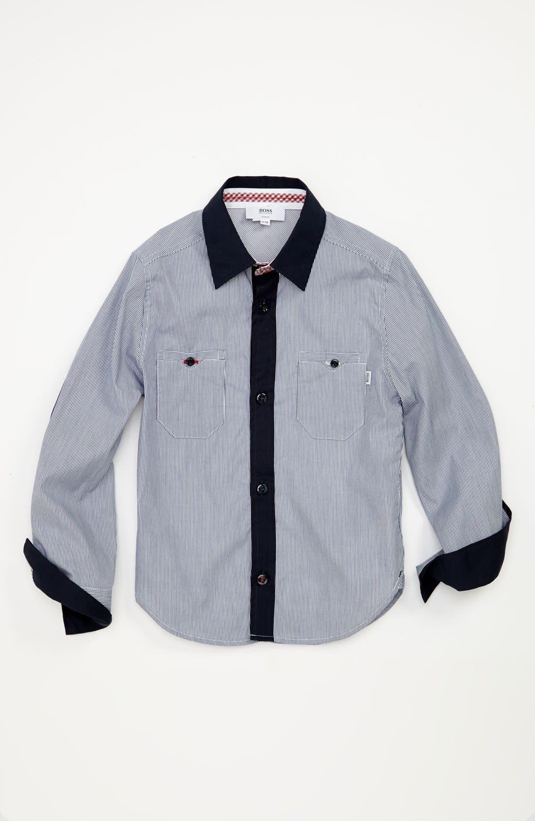 Alternate Image 1 Selected - BOSS Kidswear Stripe Woven Shirt (Little Boys & Big Boys)