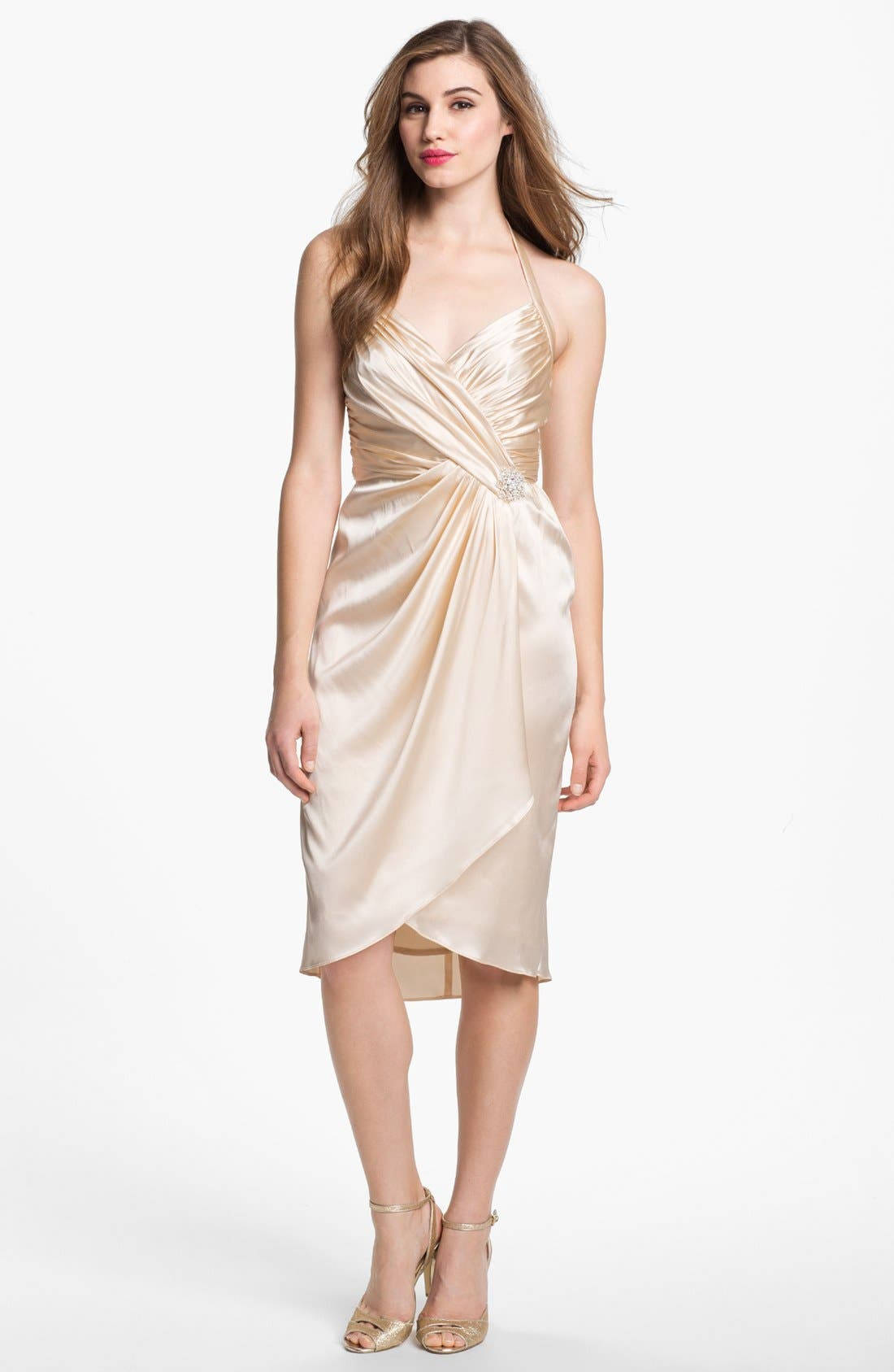 Alternate Image 1 Selected - Suzi Chin for Maggy Boutique Embellished Charmeuse Halter Dress