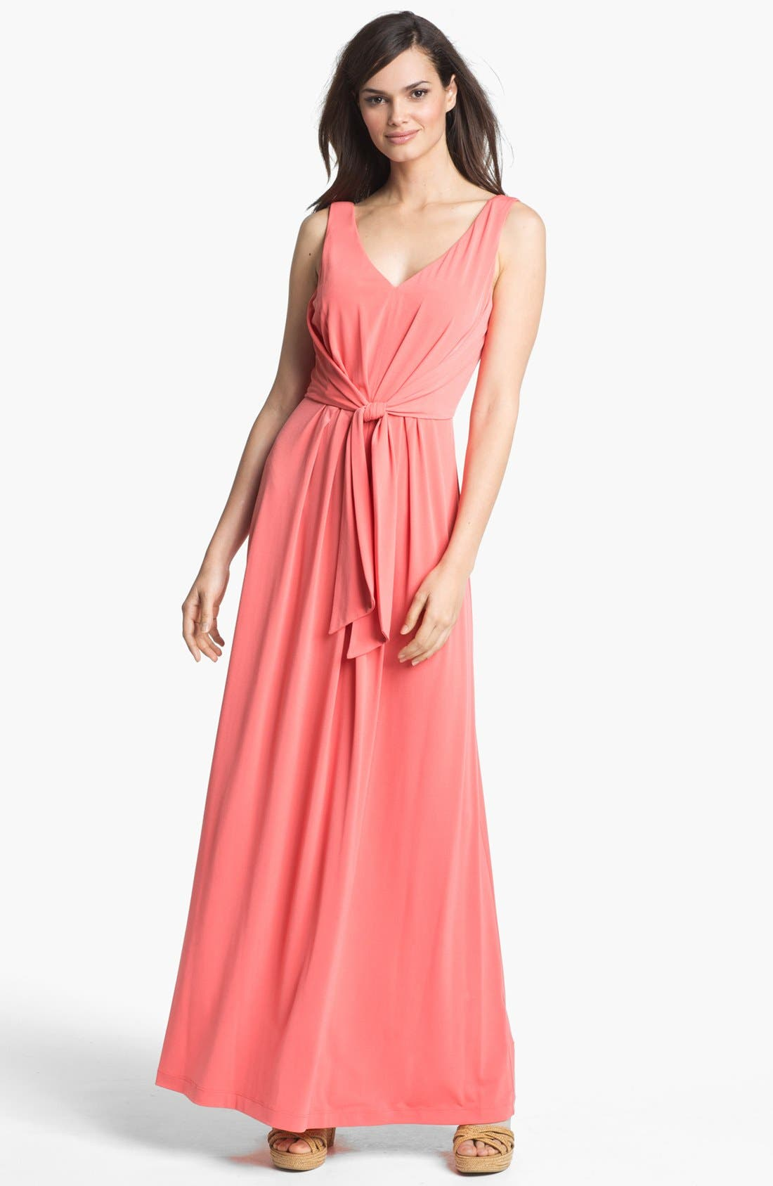 Alternate Image 1  - Suzi Chin for Maggy Boutique Tie Front Maxi Dress