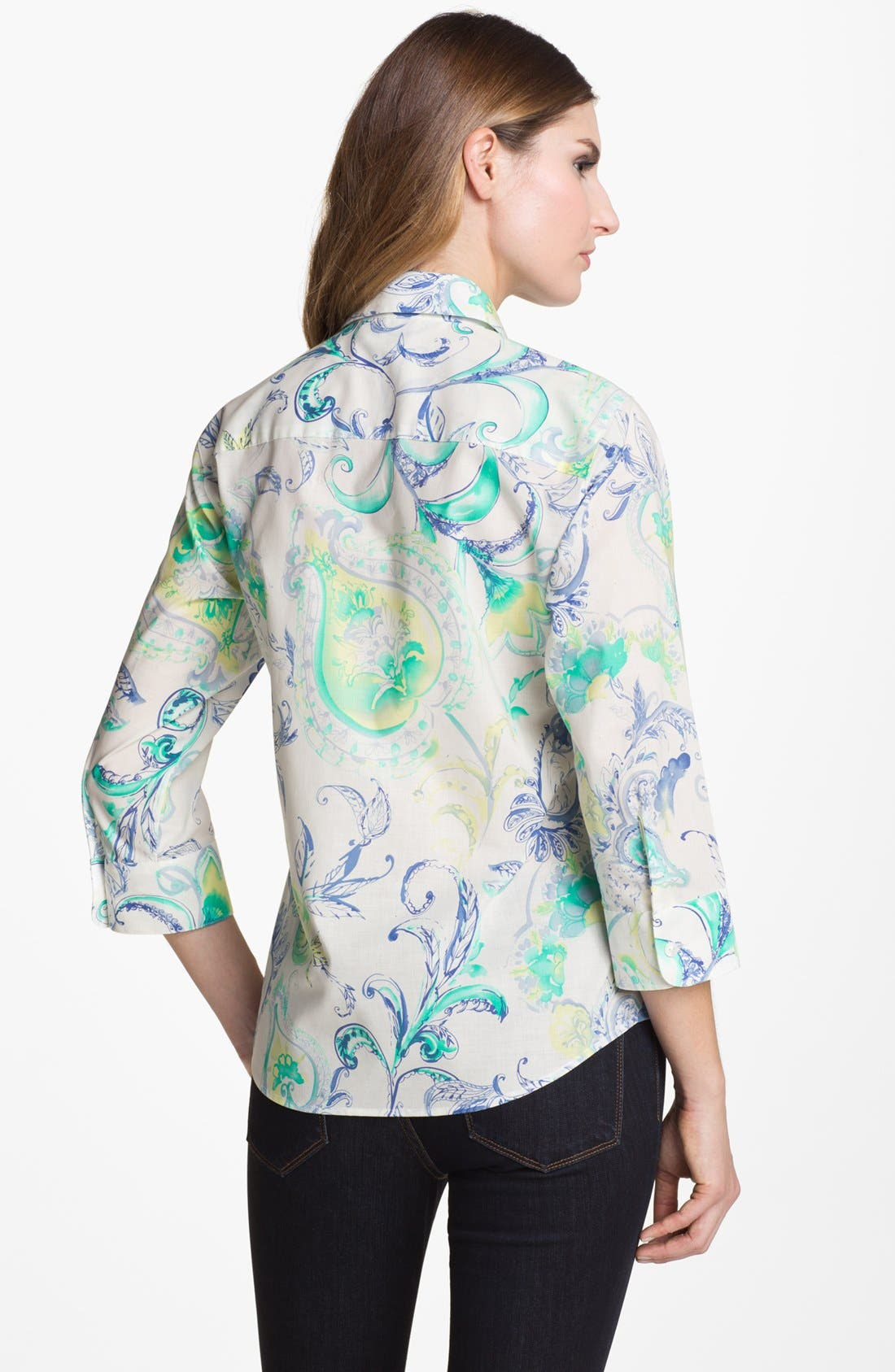 Alternate Image 2  - Foxcroft Flower Paisley Print Shaped Shirt