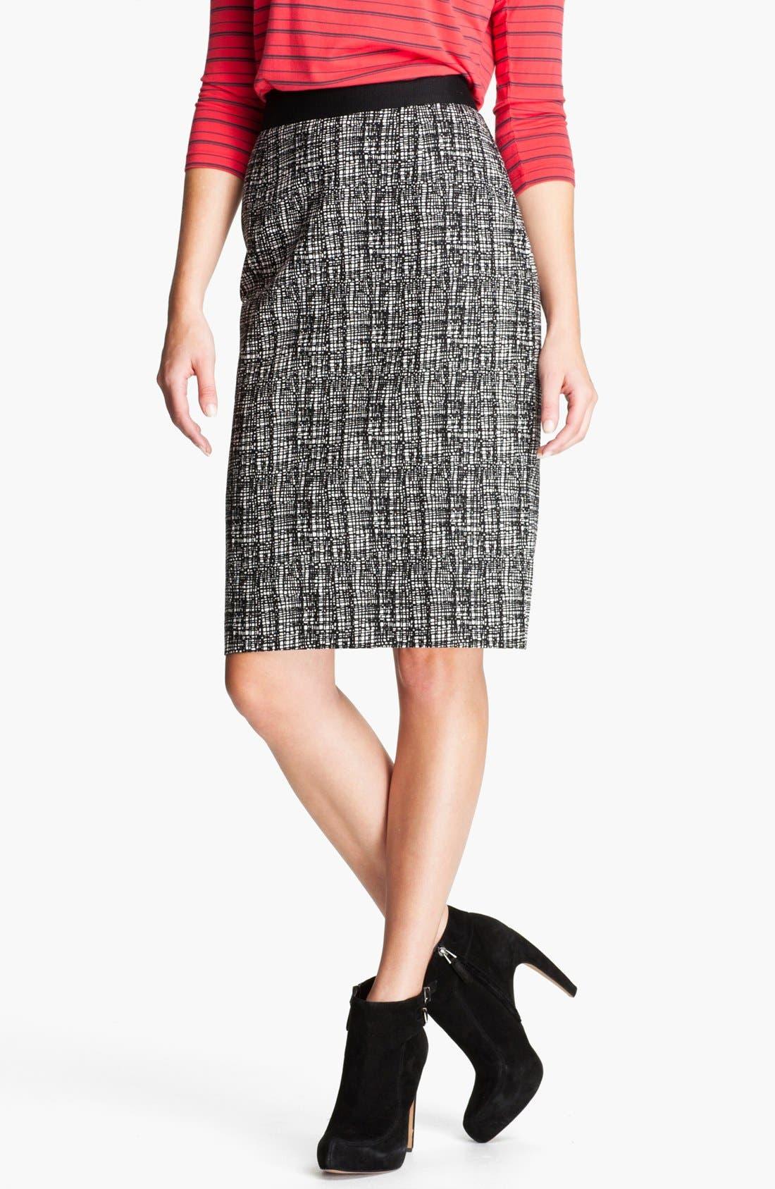Main Image - Halogen® Patterned Pencil Skirt (Petite)