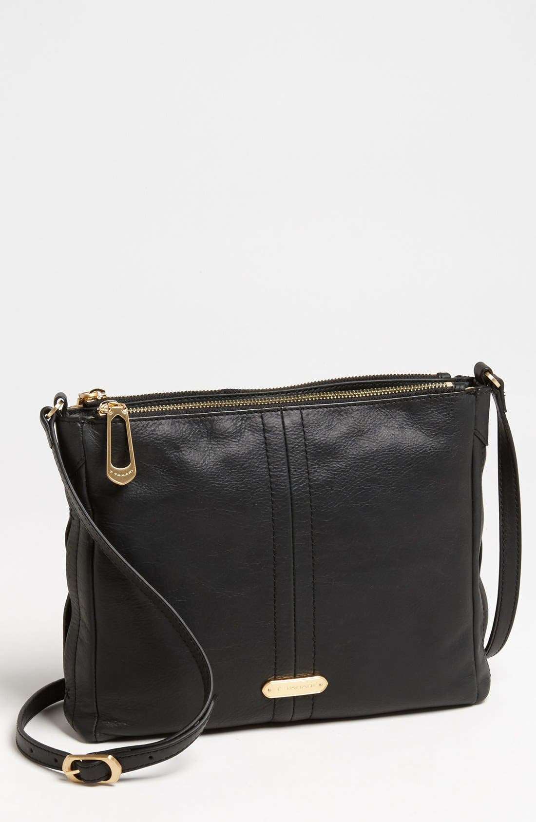 Alternate Image 1 Selected - T Tahari Pleated Double Zip Leather Crossbody Bag
