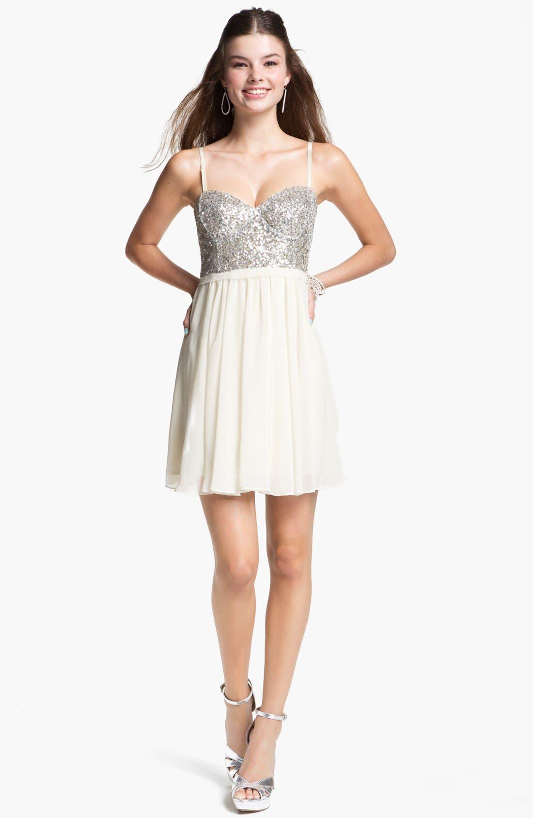 Alternate Image 1 Selected - En Crème Sequin Bustier Skater Dress (Juniors) (Online Only)