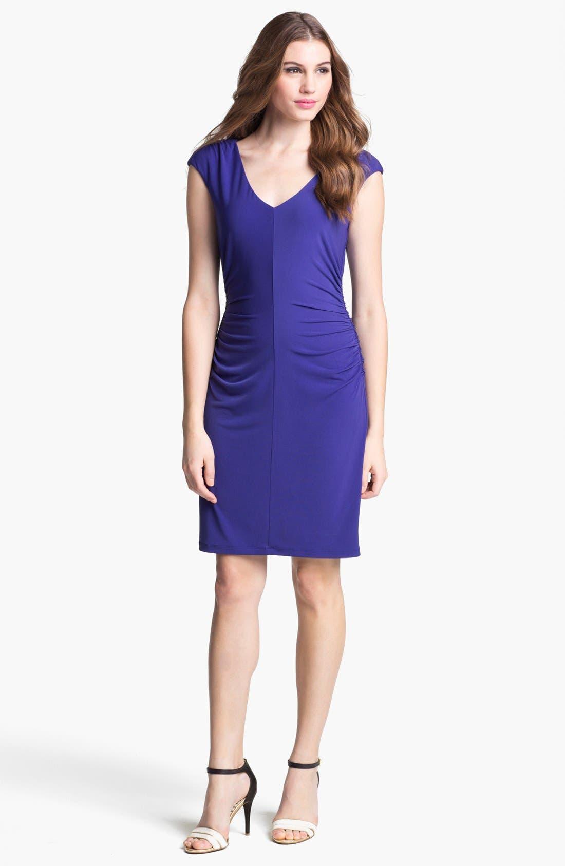 Alternate Image 1  - Ivy & Blu Ruched Cap Sleeve Jersey Dress